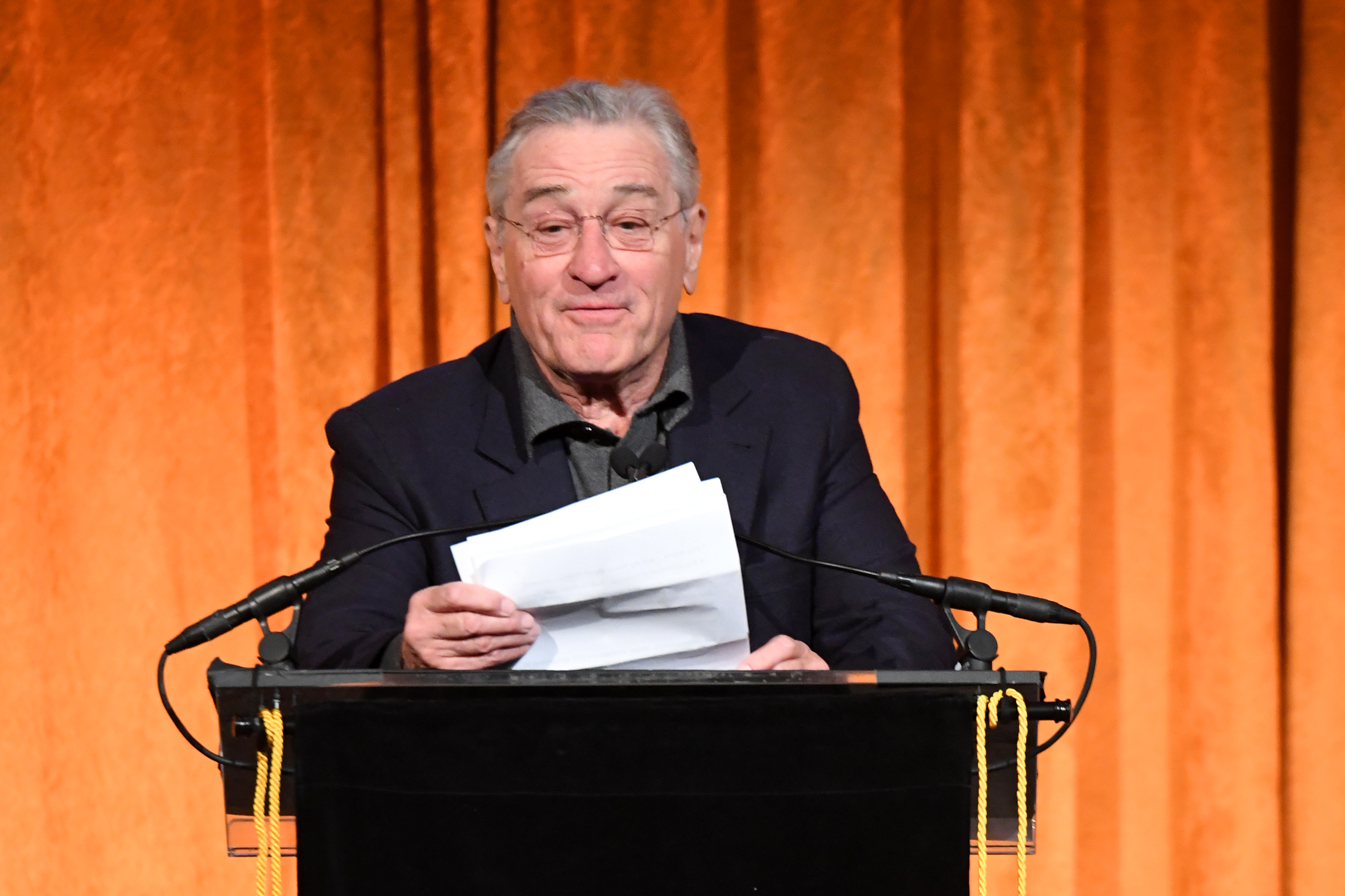 Robert De Niro speaks onstage during the National Board of Review Annual Awards Gala at Cipriani 42nd Street on January 9, 2018 in New York City