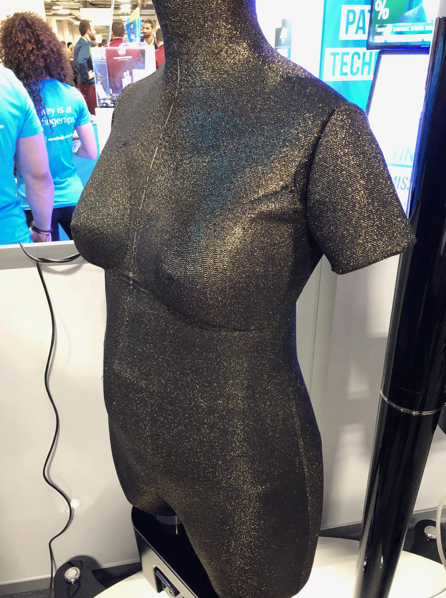 Euveka's robot mannequin, shown at CES 2018, can adjust its size to fit different body types.