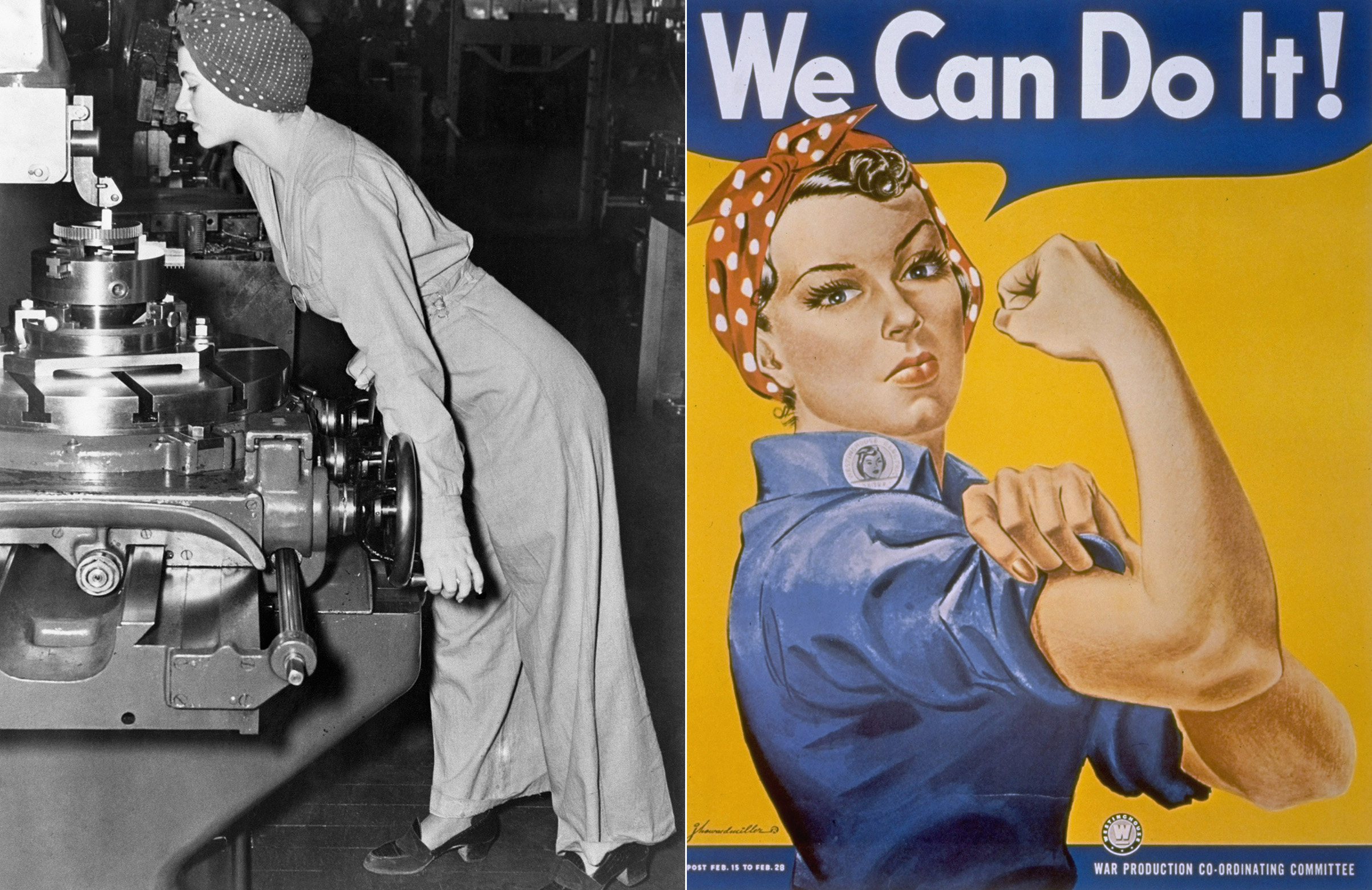 At left, the 1942 wire image of Naomi Parker at work in California. At right, the 'We Can Do It' poster by J. Howard Miller.