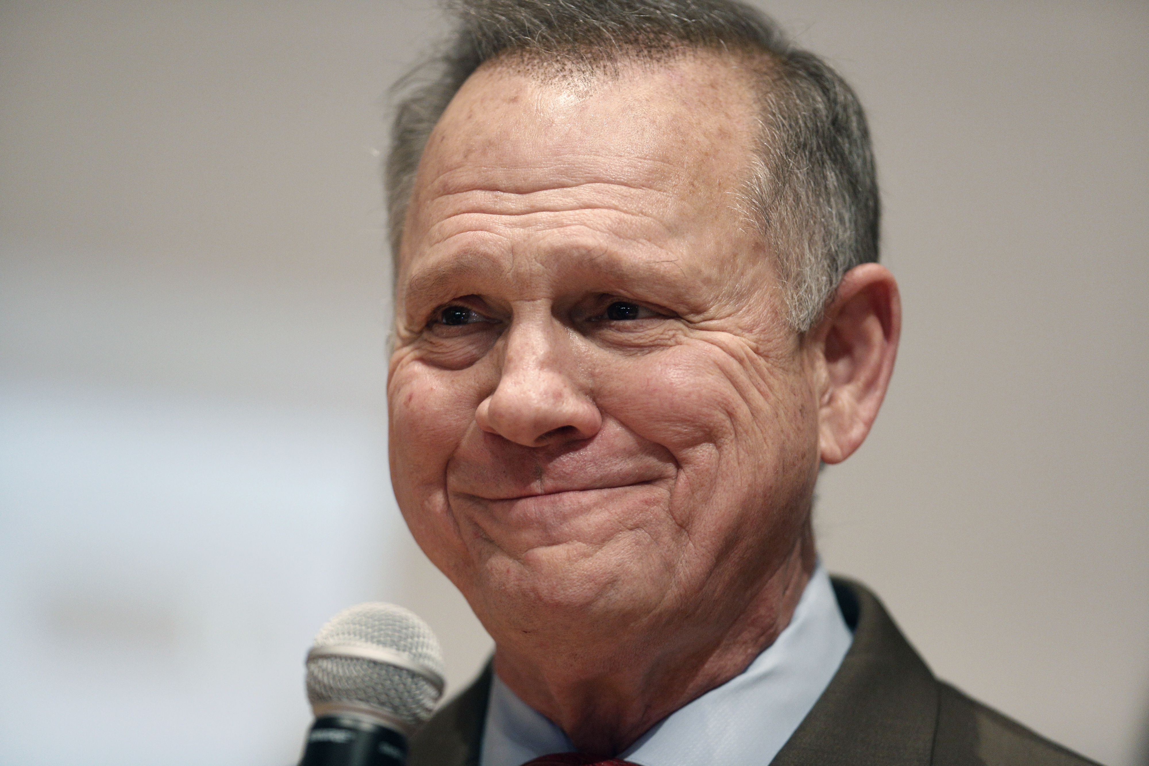 Roy Moore, a Republican from Alabama, pauses while speaking during an election night party in Montgomery, Alabama, on Dec. 12, 2017.