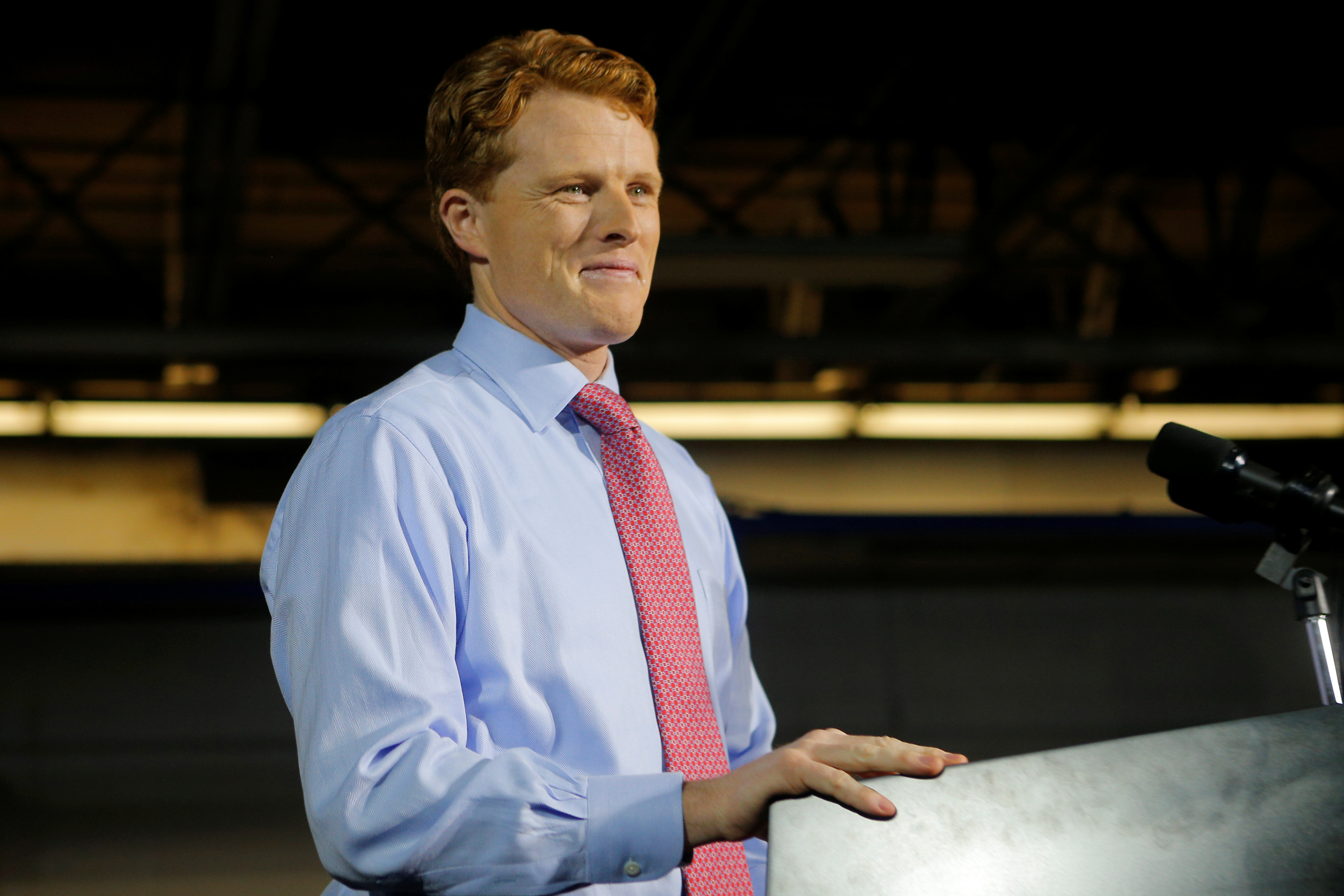 U.S. Rep. Joe Kennedy delivers the Democratic rebuttal to U.S. President Donald Trump's State of the Union address in Fall River, Massachusetts, Jan. 30, 2018.