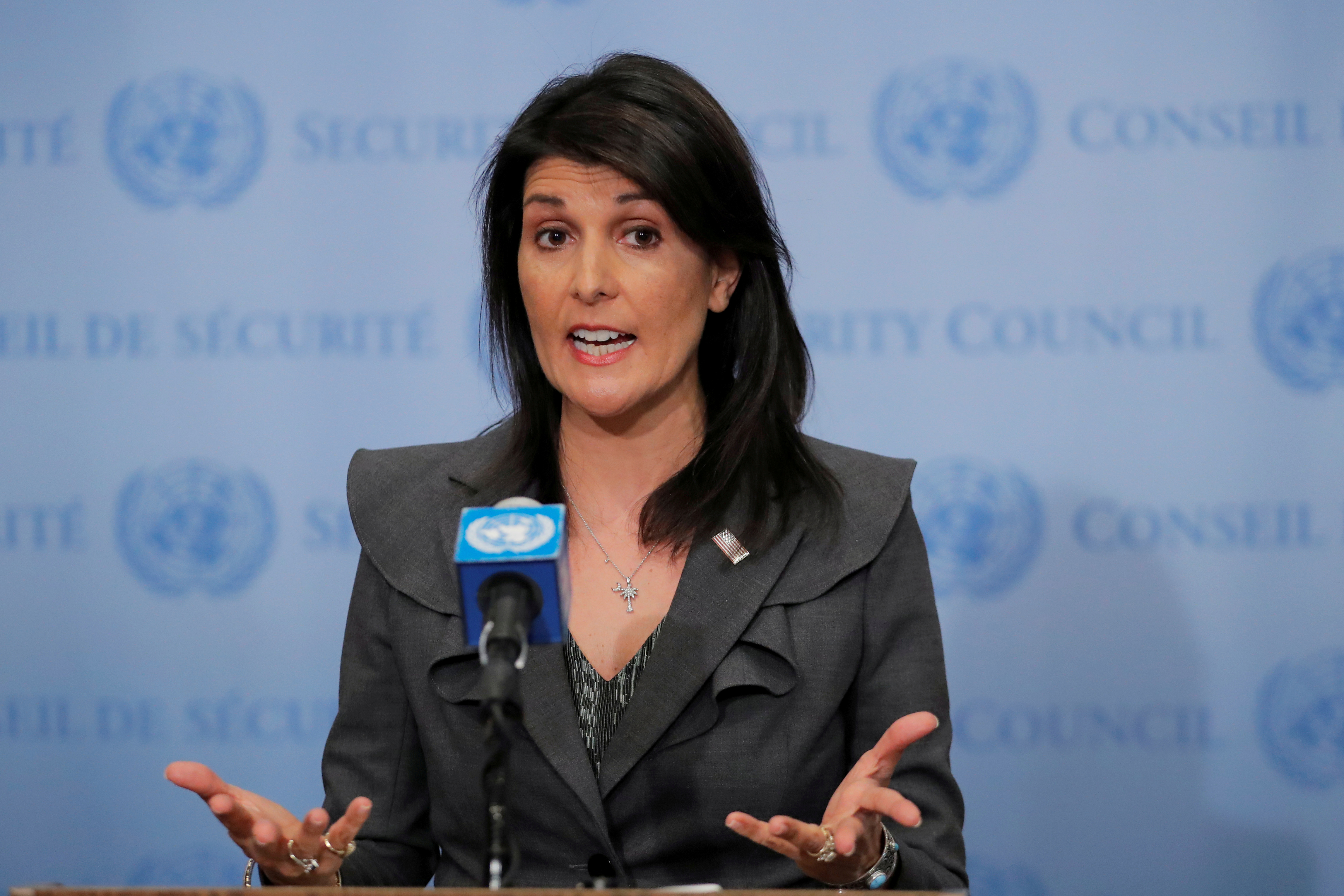 U.S. Ambassador to the United Nations Nikki Haley speaks in New York on Jan. 2, 2018.
