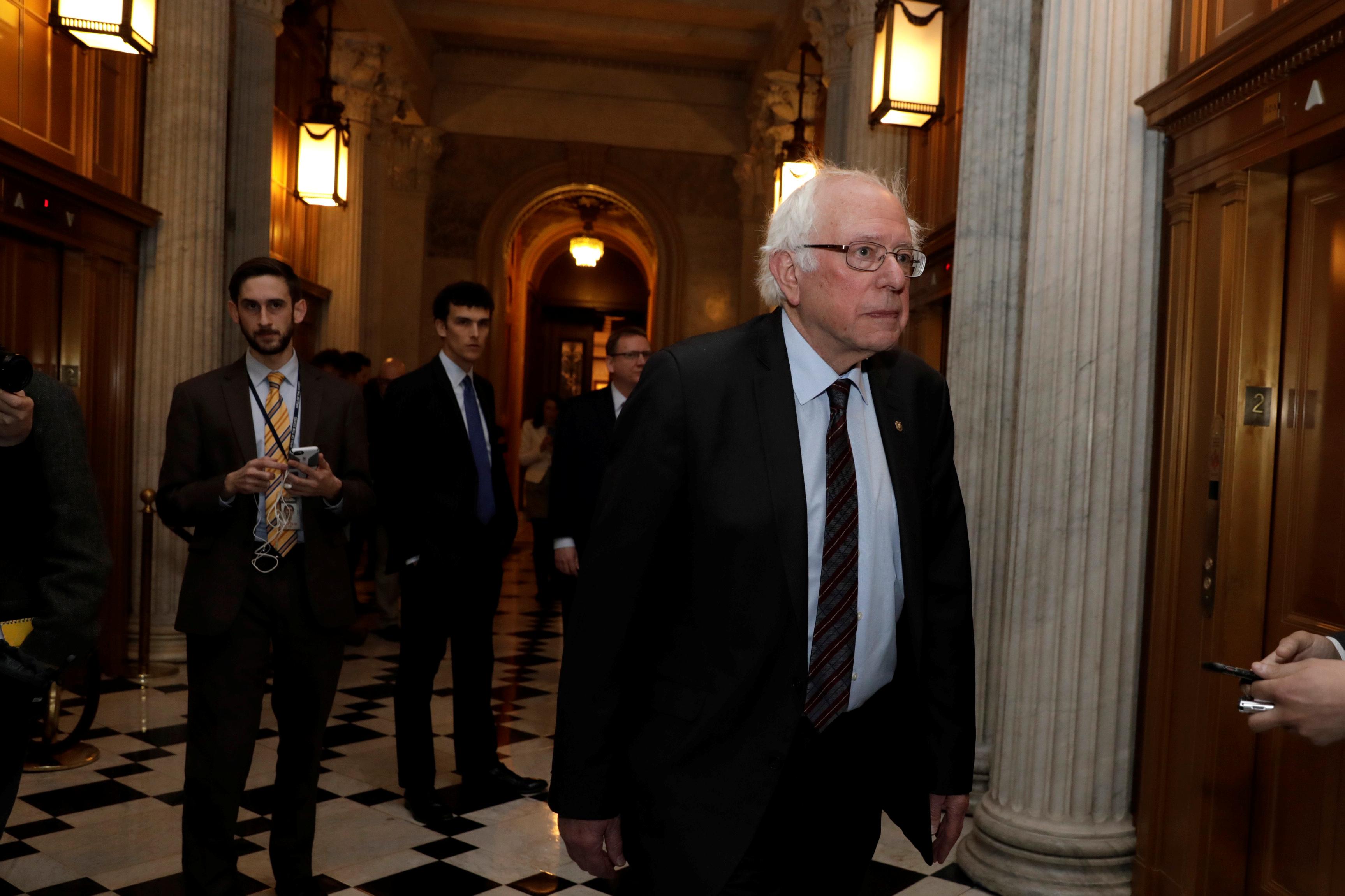 Senator Bernie Sanders arrives at Democratic Party caucus meeting in Washington, D.C. on Jan. 19, 2018.