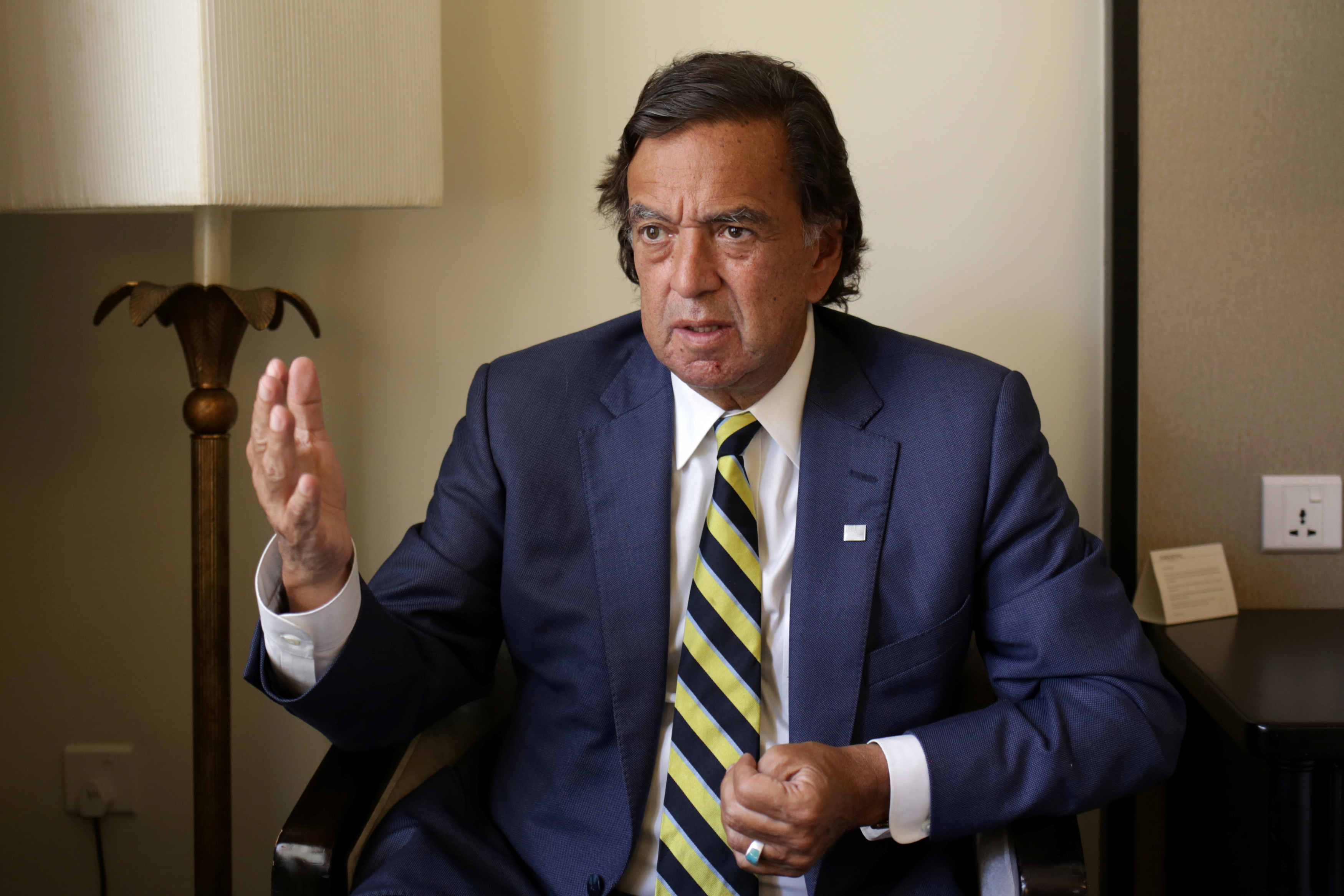 Former New Mexico governor Bill Richardson speaks during an interview in Yangon, Myanmar on Jan. 24, 2018.