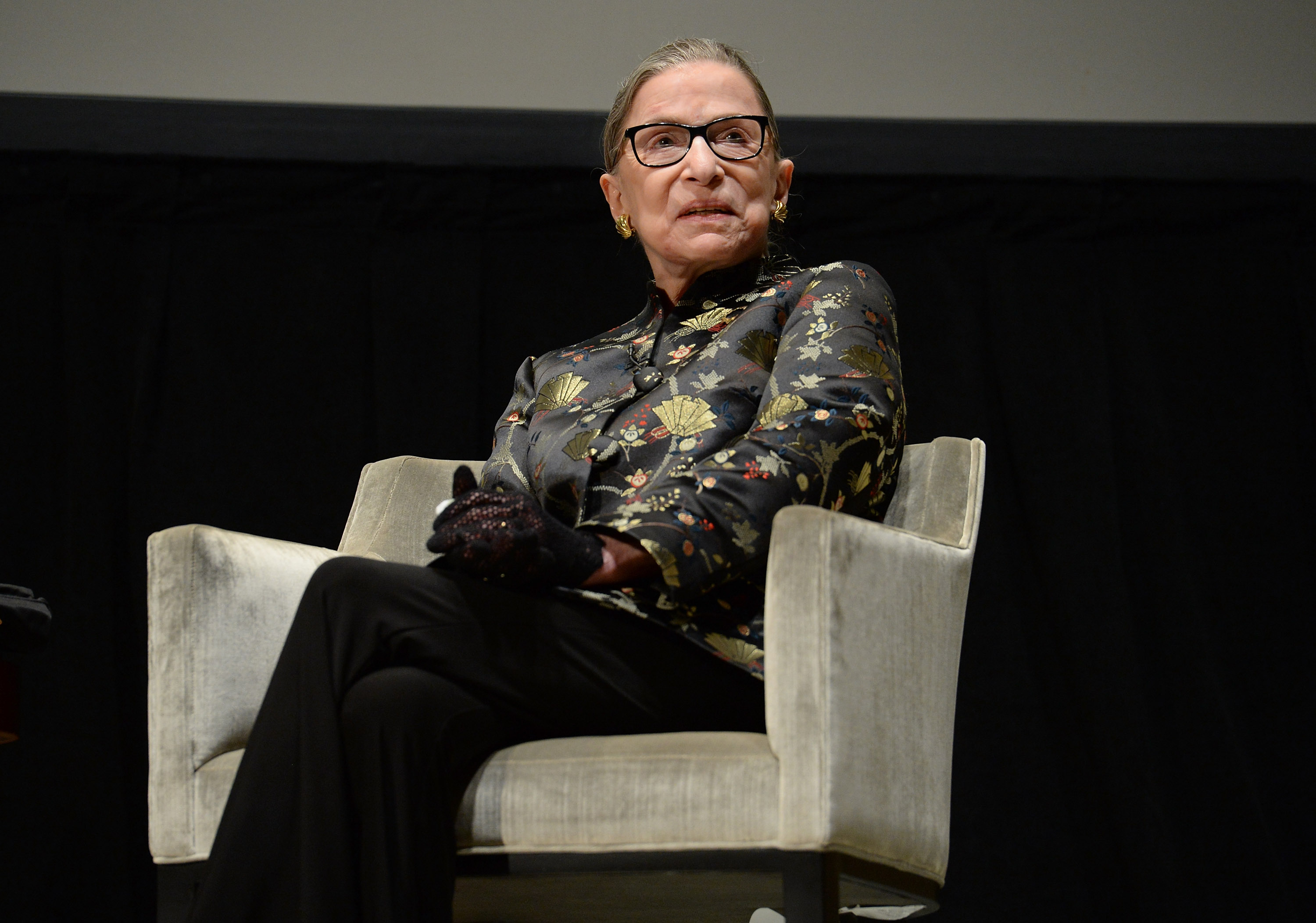 Supreme Court Justice Ruth Bader Ginsburg presents onstage at An Historic Evening with Supreme Court Justice Ruth Bader Ginsburg at the Temple Emanu-El Skirball Center on September 21, 2016 in New York City.