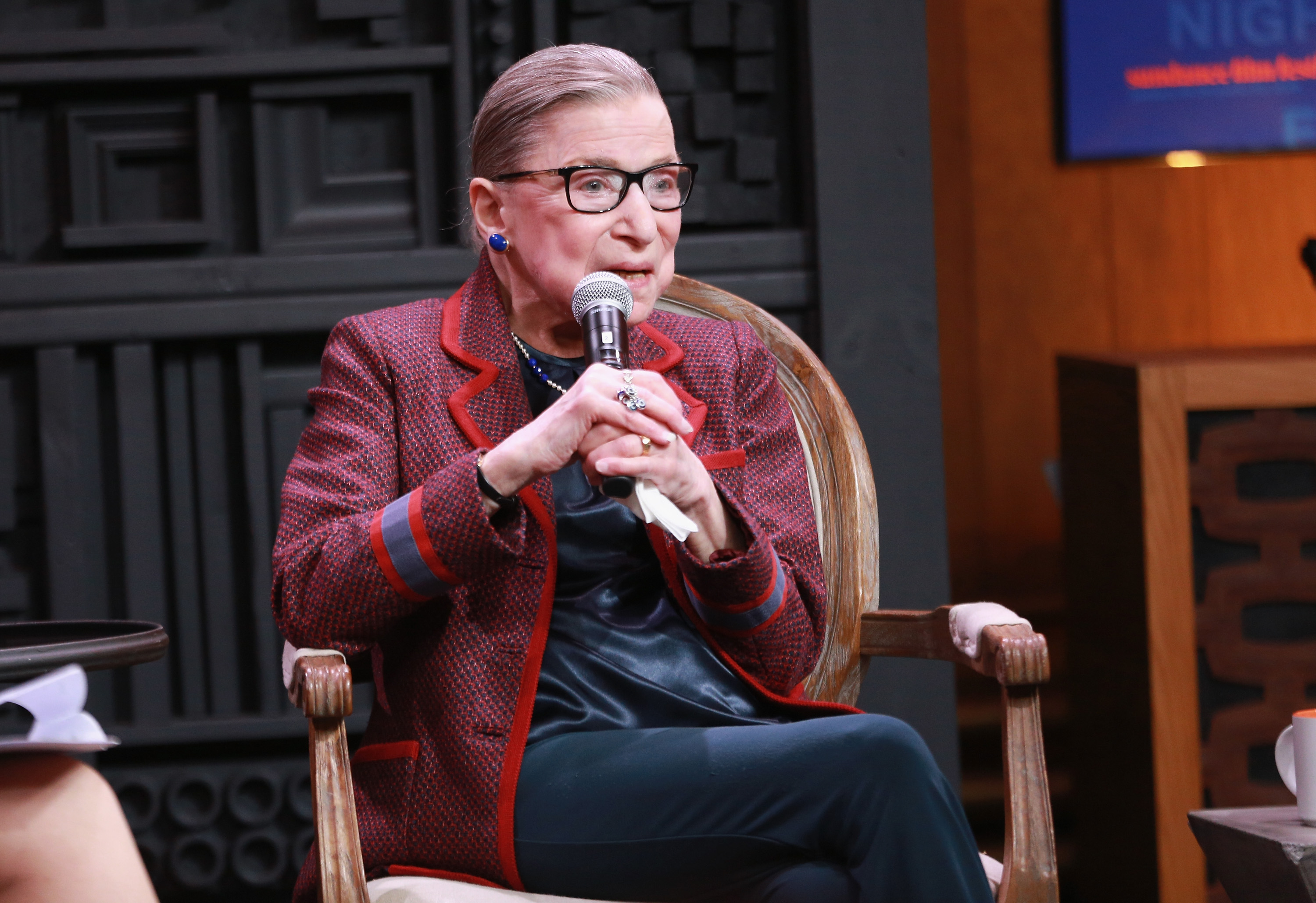 Associate Justice of the Supreme Court of the United States Ruth Bader Ginsburg speaks during the Cinema Cafe with Justice Ruth Bader Ginsburg and Nina Totenberg during the 2018 Sundance Film Festival at Filmmaker Lodge on January 21, 2018 in Utah.