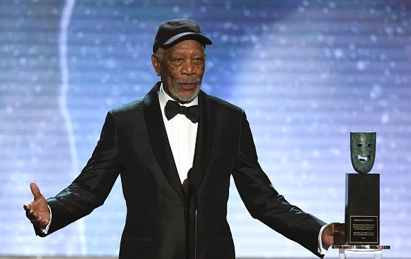 Morgan Freeman accepts the Lifetime Achievement Award onstage during the 24th Annual Screen Actors Guild Awards on January 21, 2018.