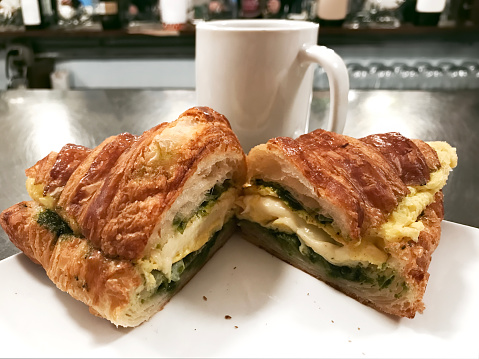 Croissant and egg sandwich