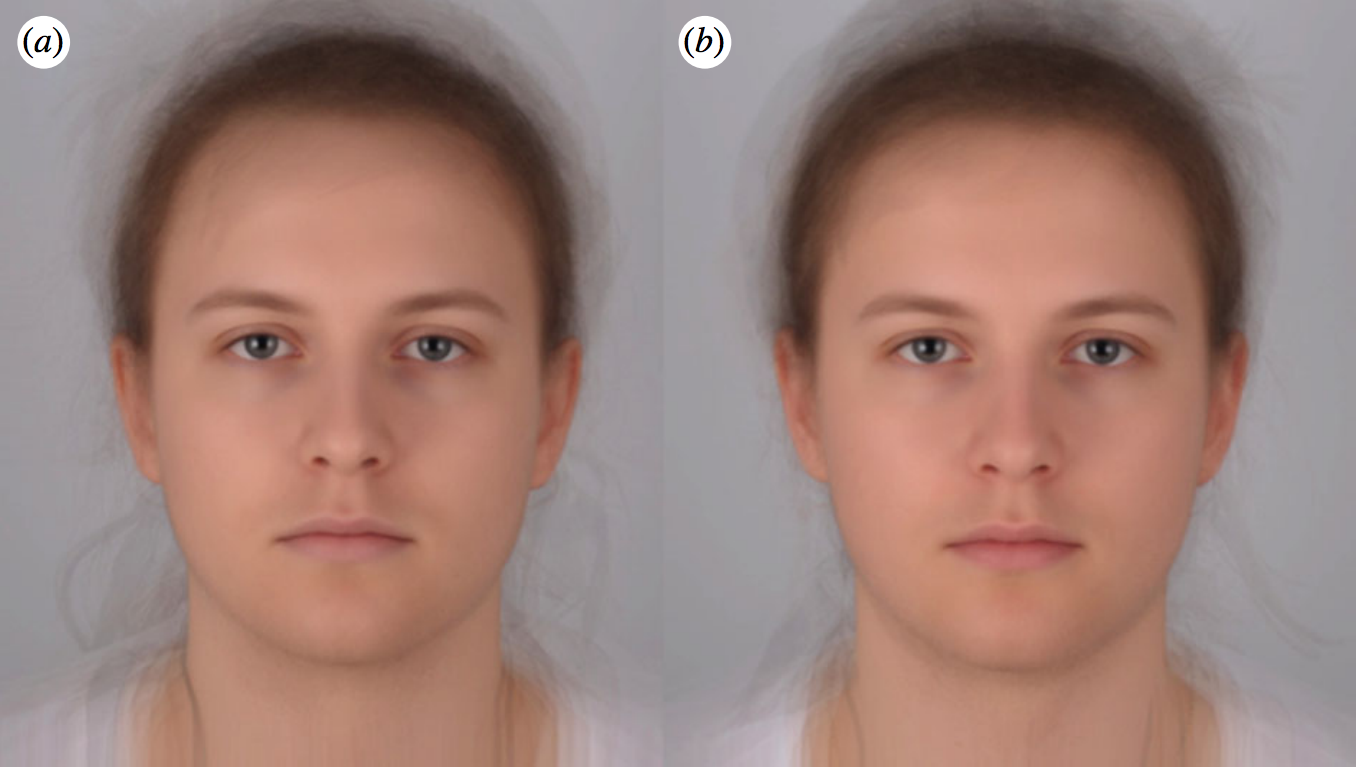 The study includes this composite rendering of photographs taken while participants felt sick (a) and healthy (b).