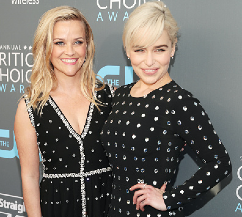 Actors Reese Witherspoon (L) and Emilia Clarke attend The 23rd Annual Critics' Choice Awards at Barker Hangar on January 11, 2018 in Santa Monica, California.