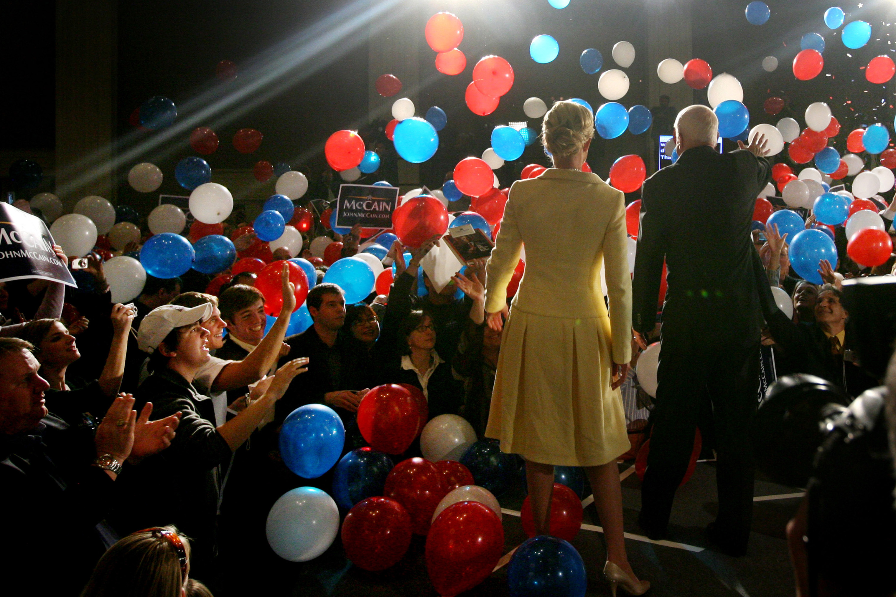 Sen. John McCain and wife Cindy greet supporters at a campaign rally at the Fairmont Dallas hotel on March 4, 2008.