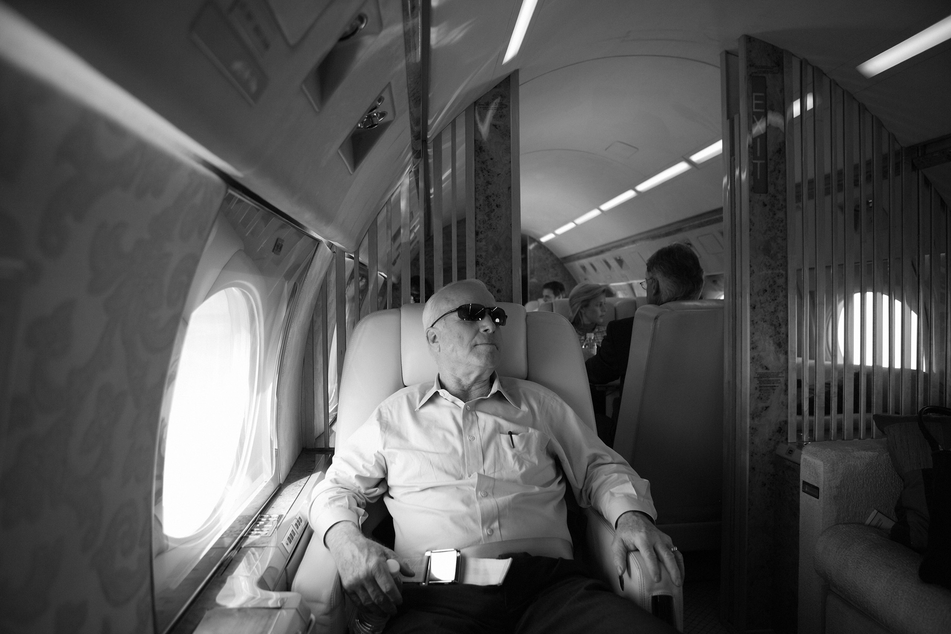 Sen. John McCain on board his private plane during presidential campaign stops in S.C. on April 26, 2007.