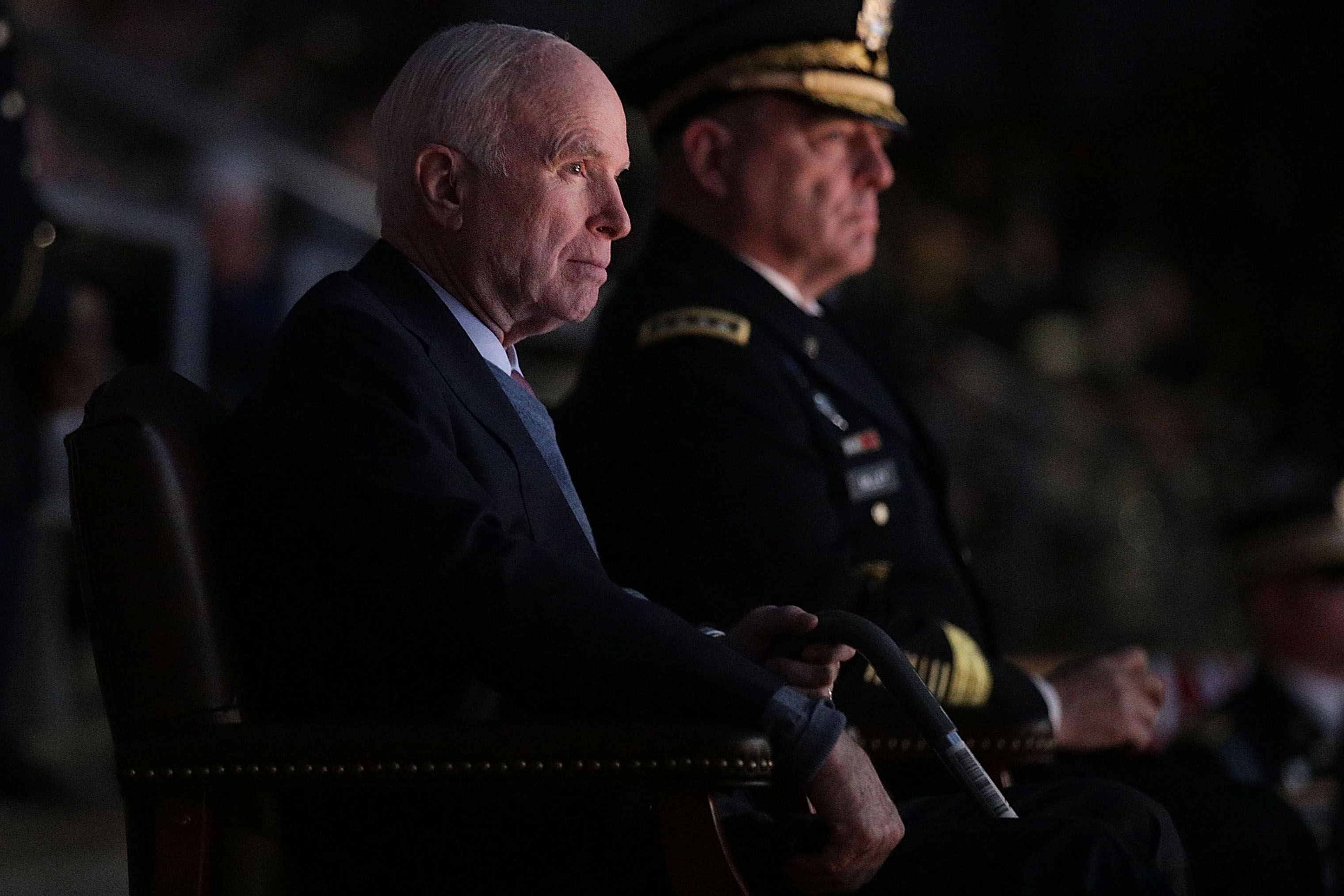 Staff Gen. Mark A. Milley and Sen. John McCain at Fort Myer where McCain was honored with the Outstanding Civilian Service Medal for over 63 years of dedicated service to the nation and the U.S. Navy on Nov. 14, 2017.