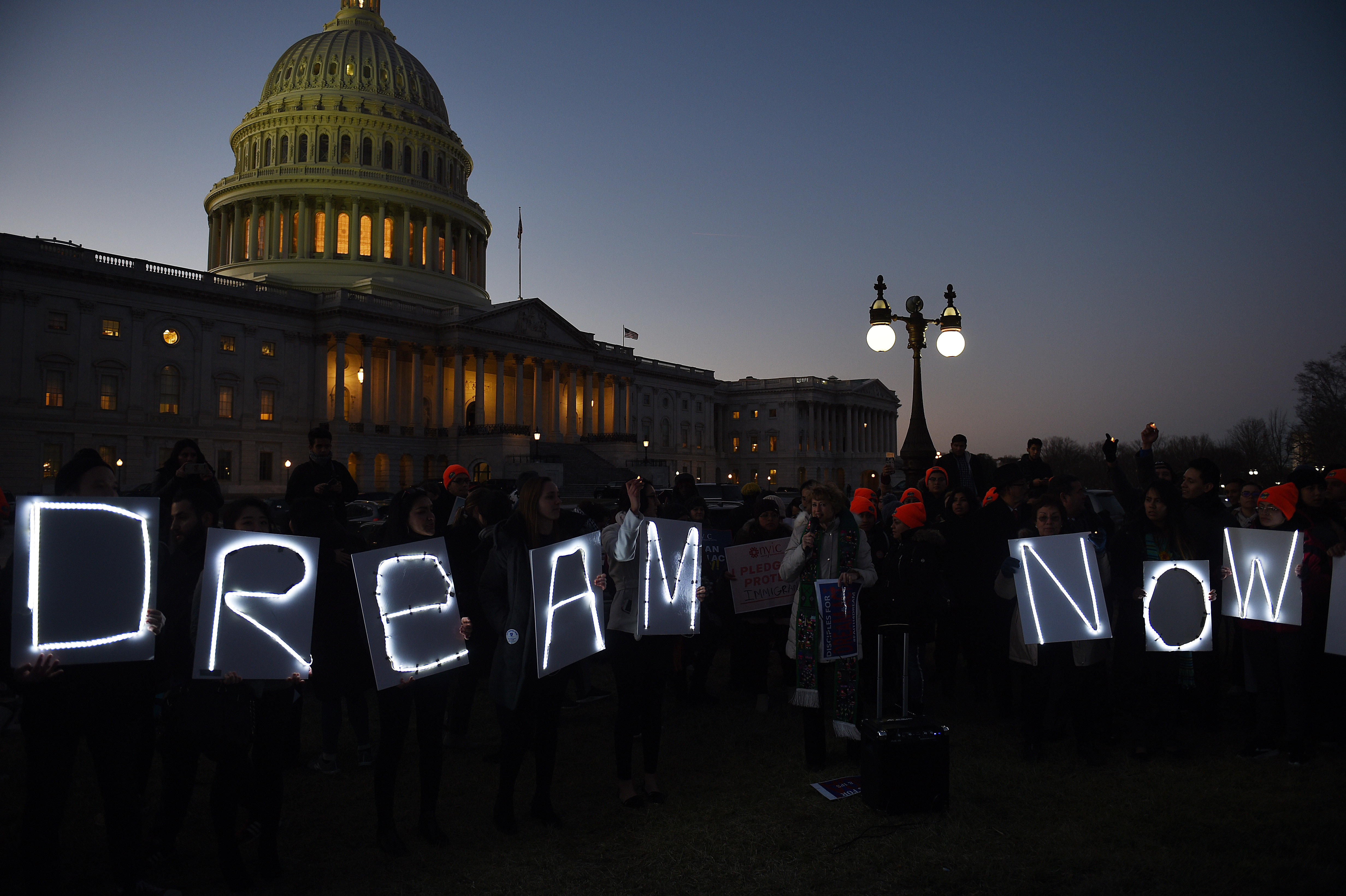 Dreamers protest outside the U.S. Capitol while lawmakers struggle to avoid an impending government shutdown on Jan. 18, 2018. Democrats threatened with a shutdown as long as no clean DREAM act solutions is made.