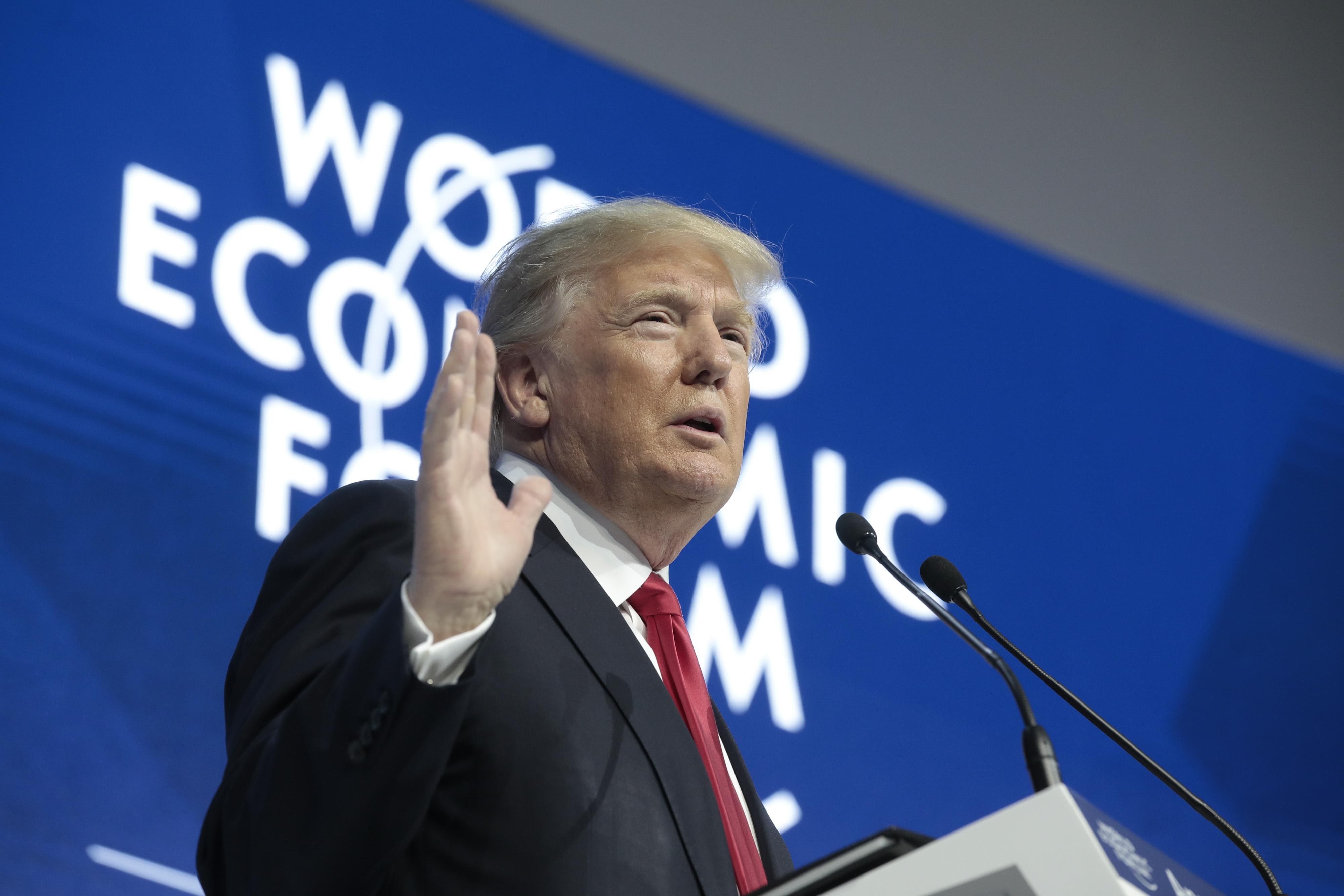 U.S. President Donald Trump delivers a speech during a special address on the closing day of the World Economic Forum (WEF) in Davos, Switzerland, on Friday, Jan. 26, 2018. World leaders, influential executives, bankers and policy makers attend the 48th annual meeting of the World Economic Forum in Davos from Jan. 23 - 26.