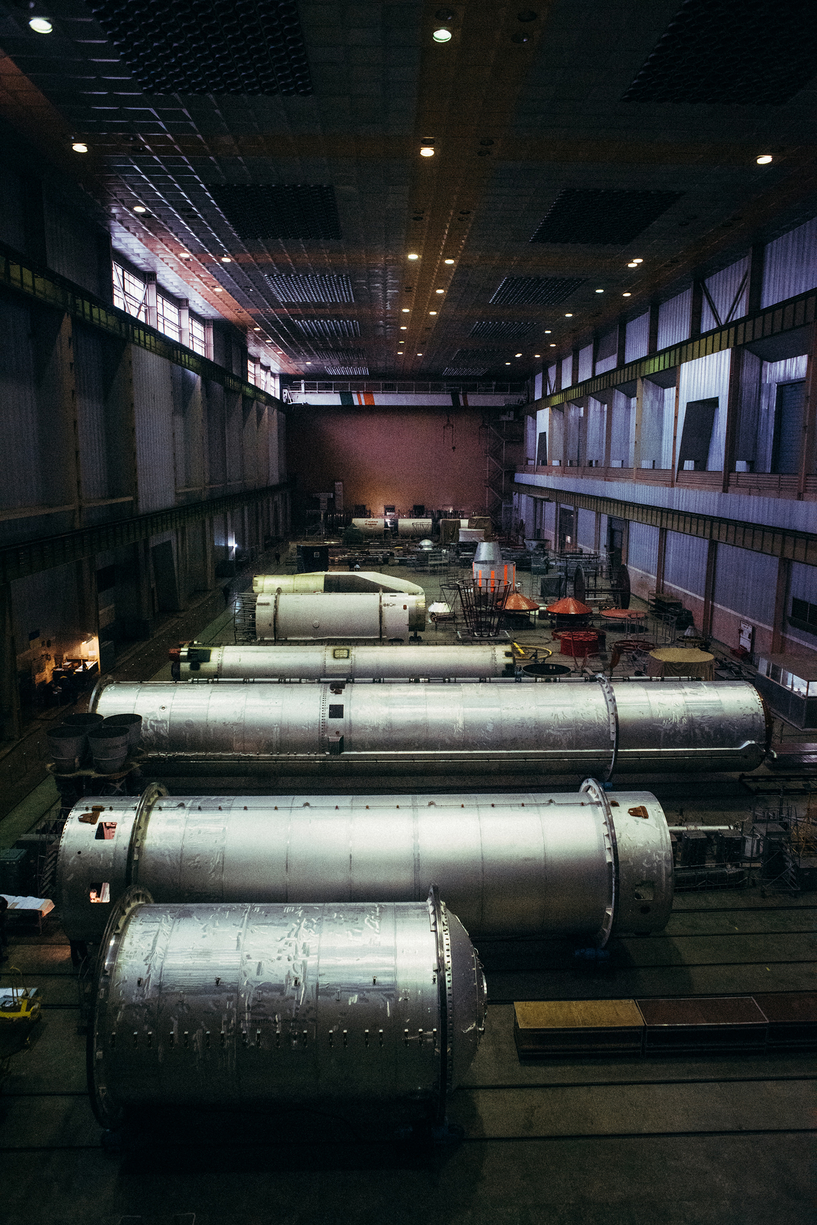 Rocket parts await assembly at Workshop 97 of the Yuzhmash plant