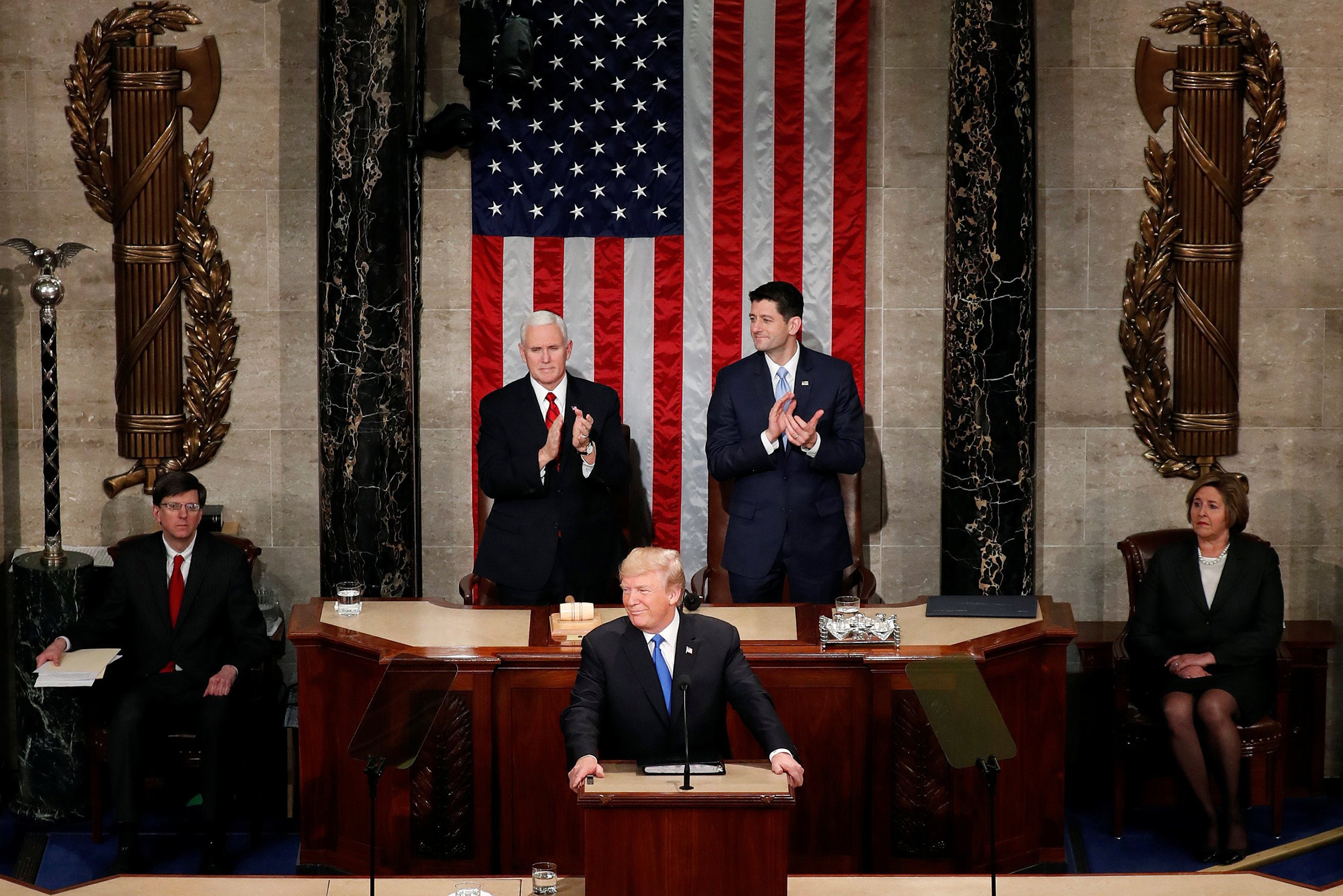 U.S. President Donald Trump delivers his first State of the Union address to a joint session of Congress