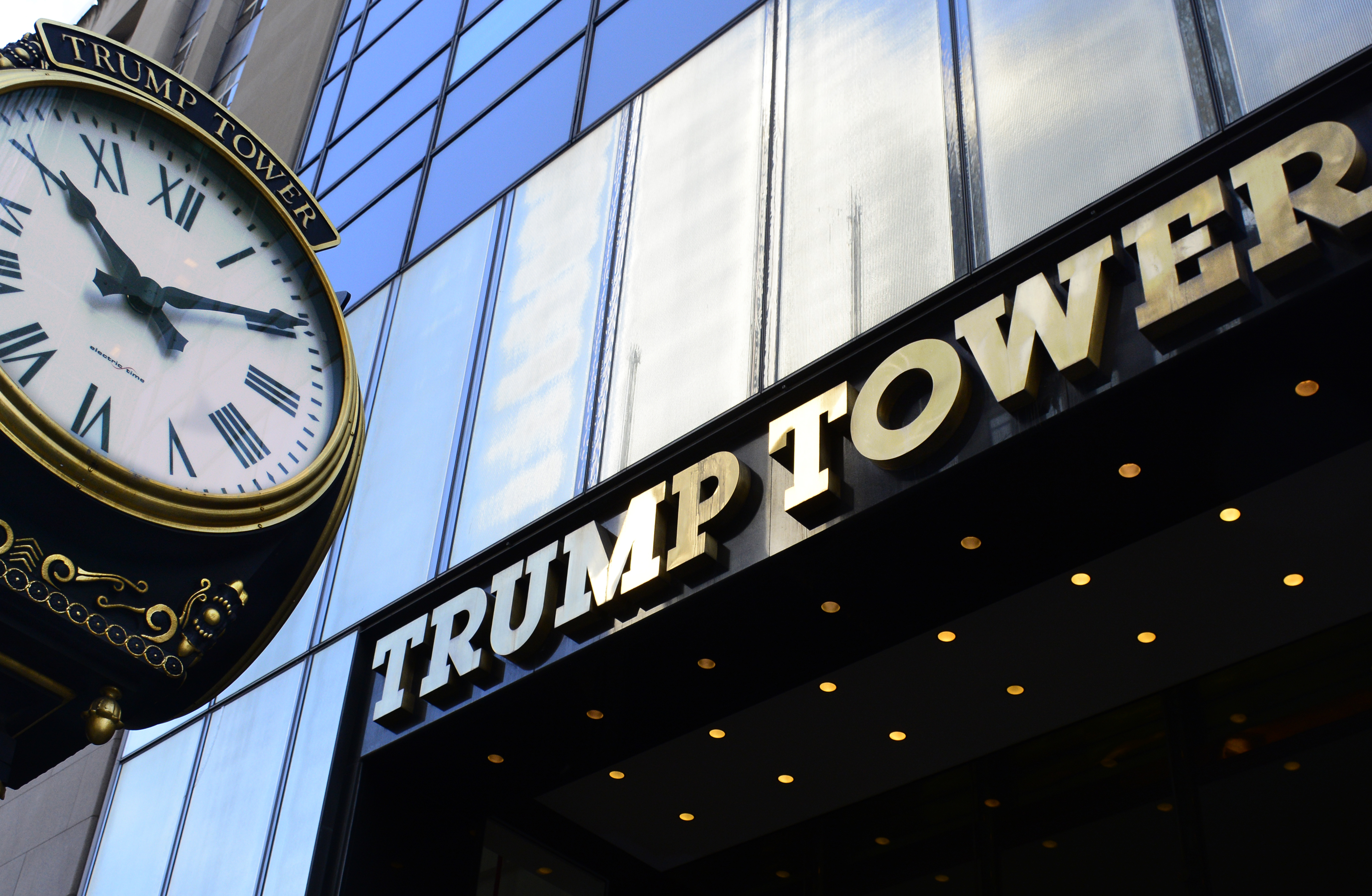 The public Fifth Avenue entrance to Trump Tower on Fifth Avenue in Midtown Manhattan, New York, New York.