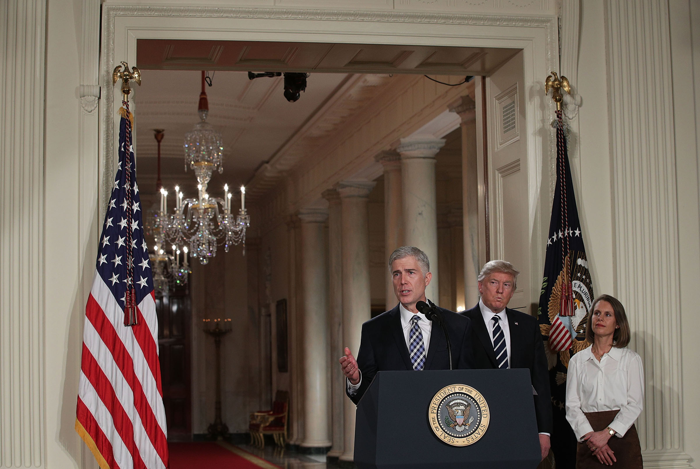 Judge Neil Gorsuch speaks to the crowd on Jan. 31, 2017 after President Donald Trump nominated him to the Supreme Court.