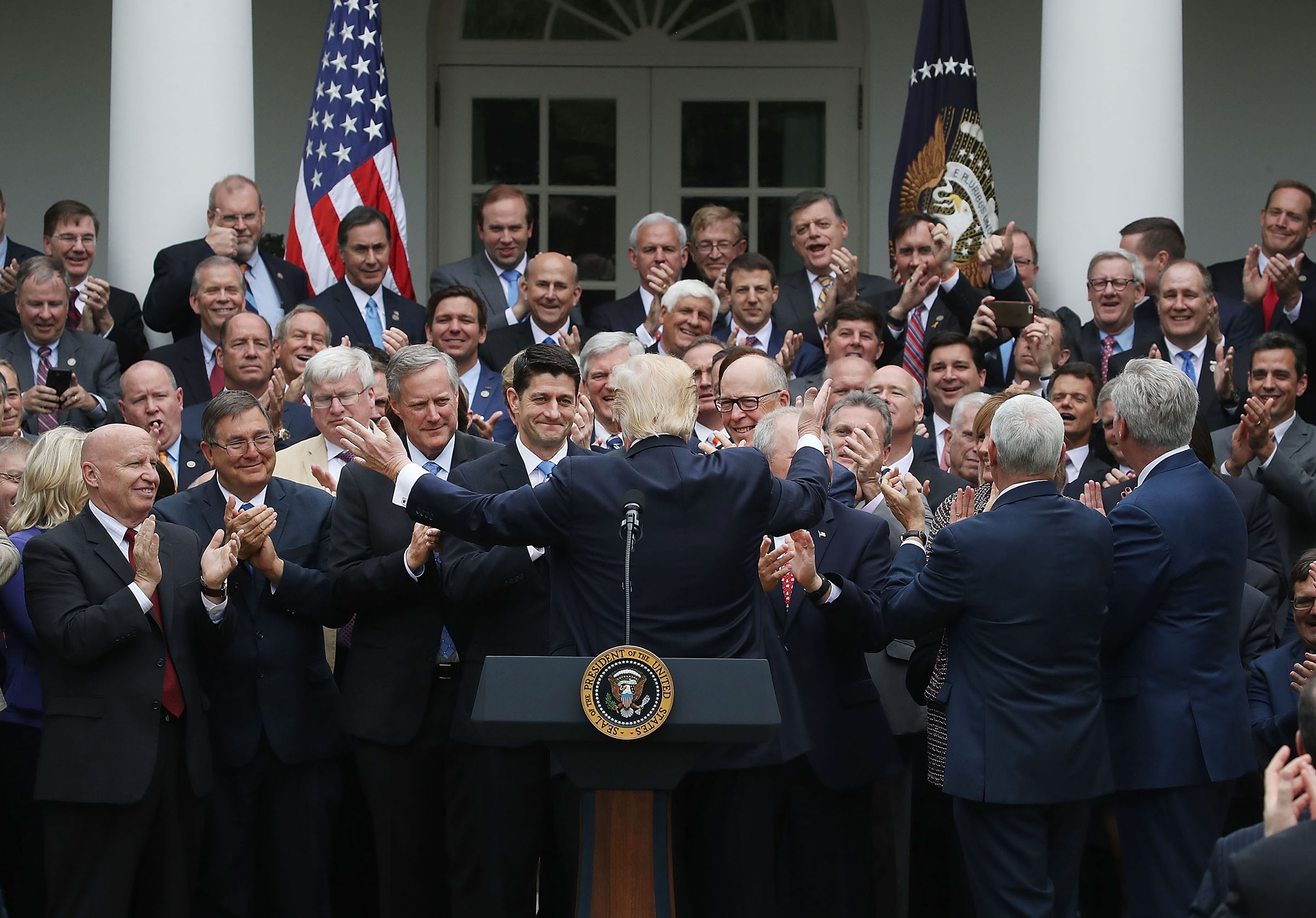 President Donald Trump congratulates House Republicans after they passed legislation aimed at repealing and replacing ObamaCare on May 4, 2017.