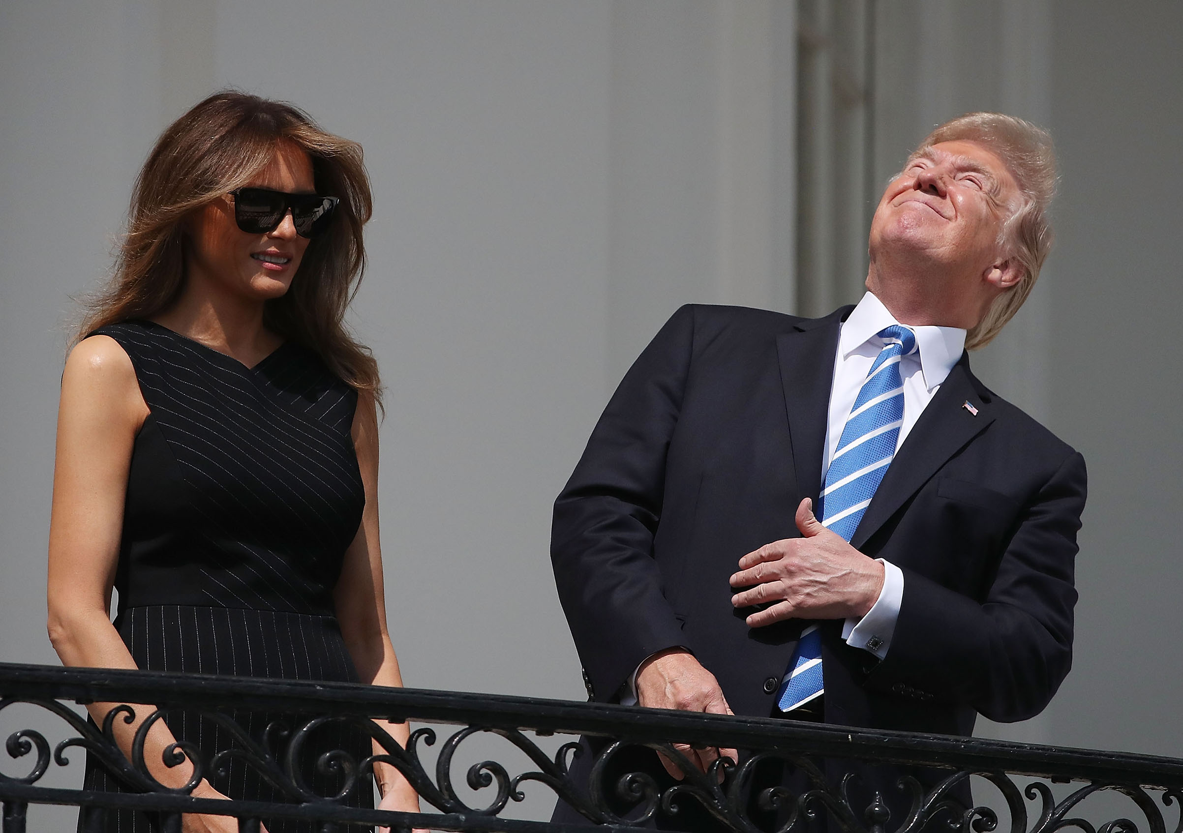 President Donald Trump looks up toward the Solar Eclipse on Aug. 21, 2017.