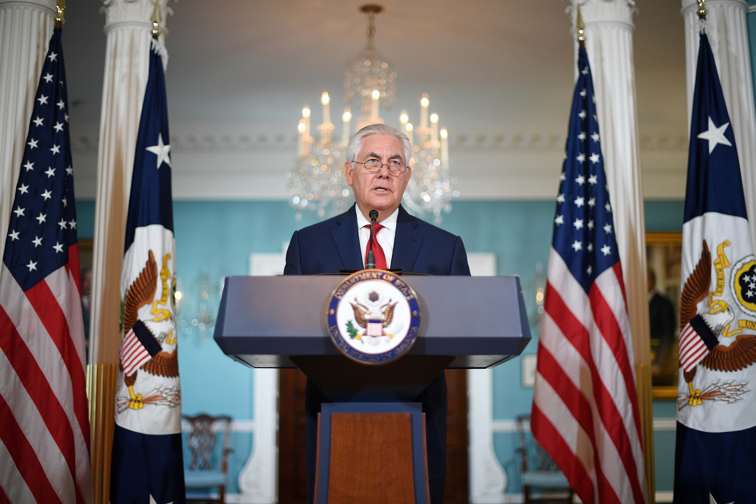 US Secretary of State Rex Tillerson makes a statement to the press on Oct. 4, 2017.