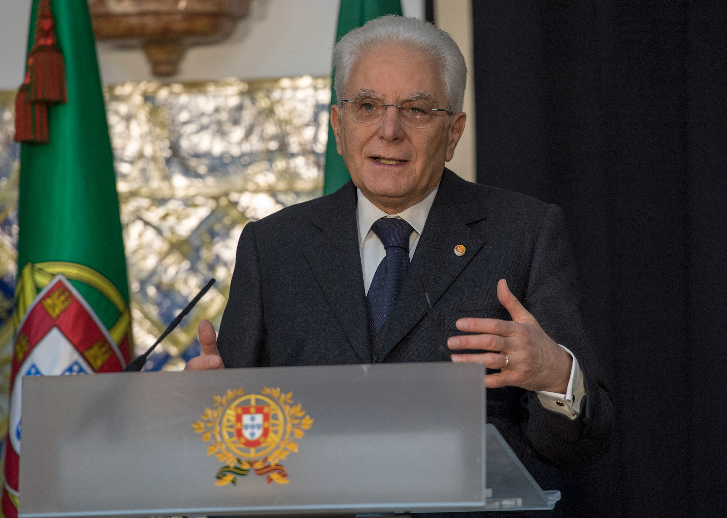 Italian President Sergio Mattarella delivers remarks at the end of his meeting with Portuguese President in Belem Presidential Palace on Dec. 06, 2017 in Lisbon, Portugal.