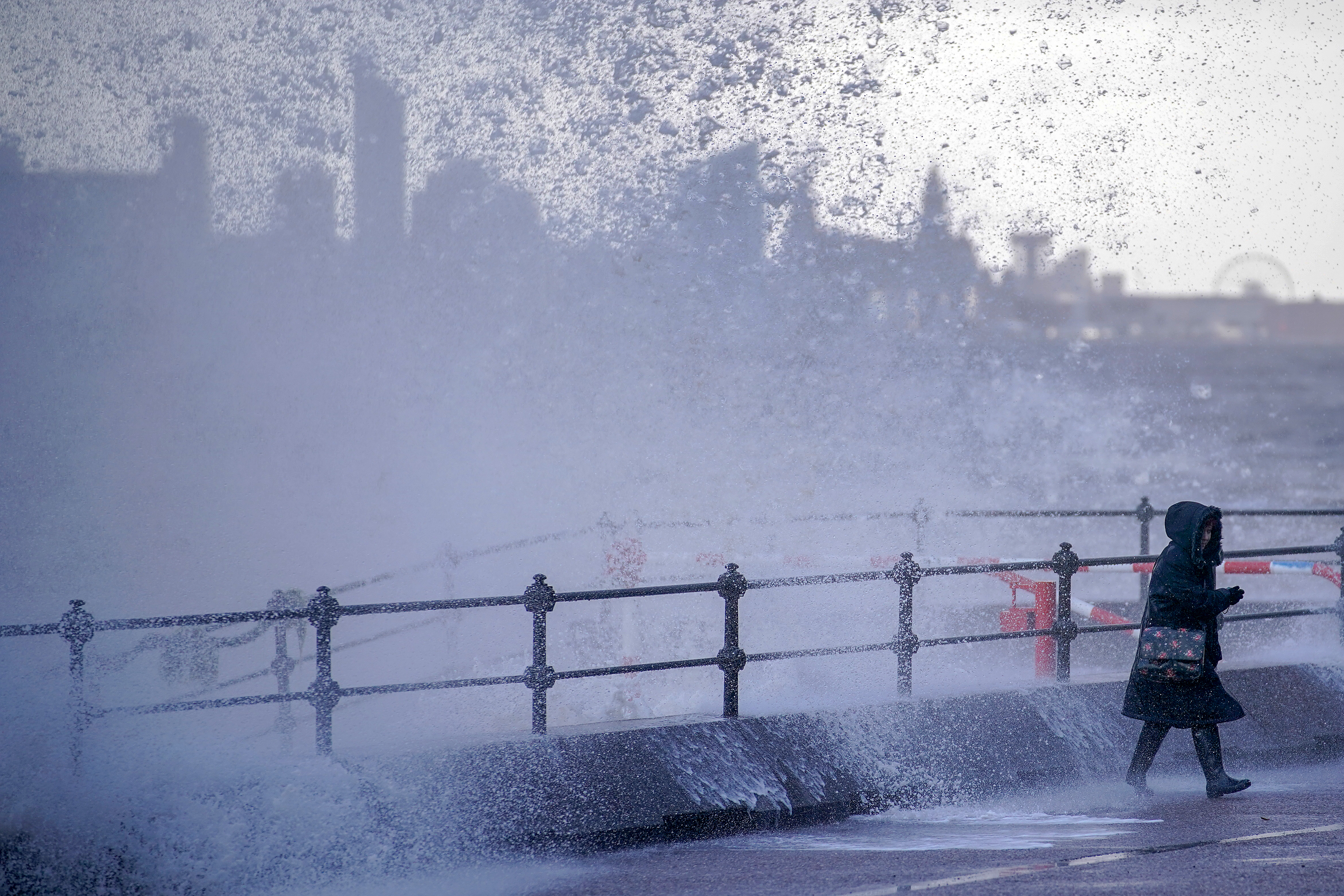 Waves whipped up by the wind of Storm Eleanor lash against the sea wall on Jan. 3, 2018 in New Brighton, United Kingdom.