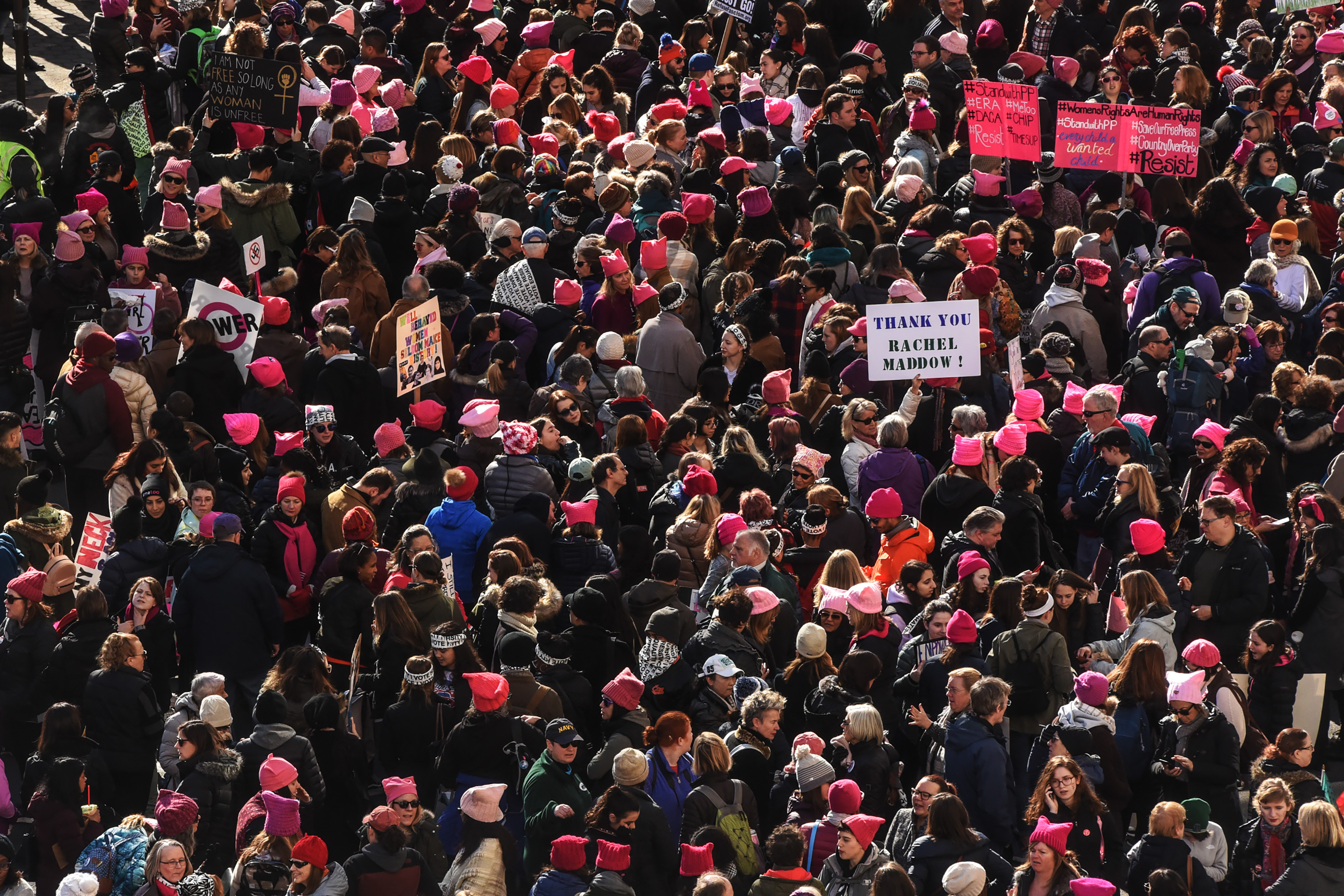 People gather near Central Park before the beginning of the Women's March in New York City, on Jan. 20, 2018.