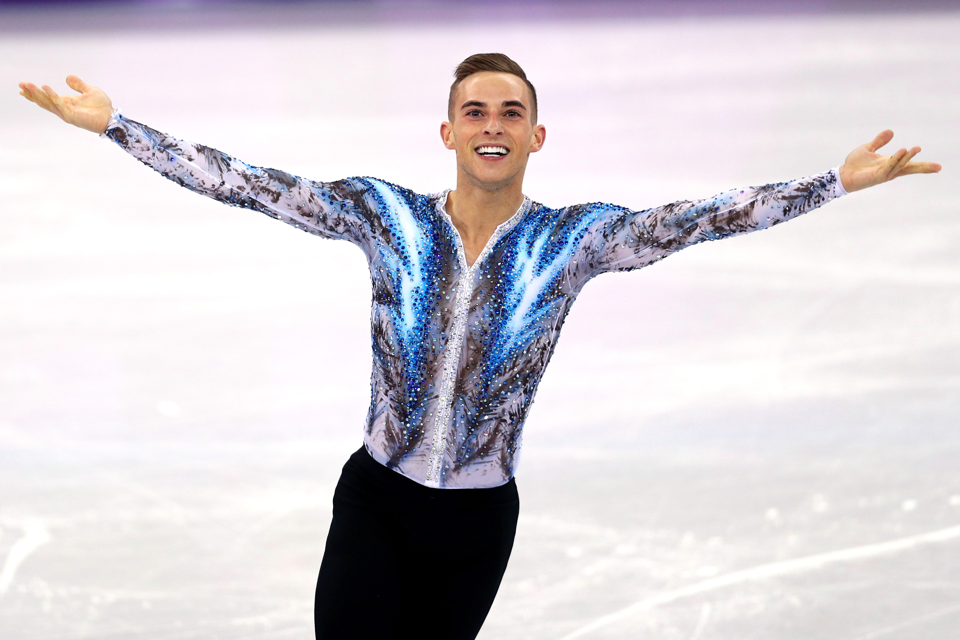 Adam Rippon celebrates after competing in the Figure Skating Team Event Men's Single Free Skating on day three of the PyeongChang 2018 Winter Olympic Games at Gangneung Ice Arena on Feb. 12, 2018 in Gangneung, South Korea