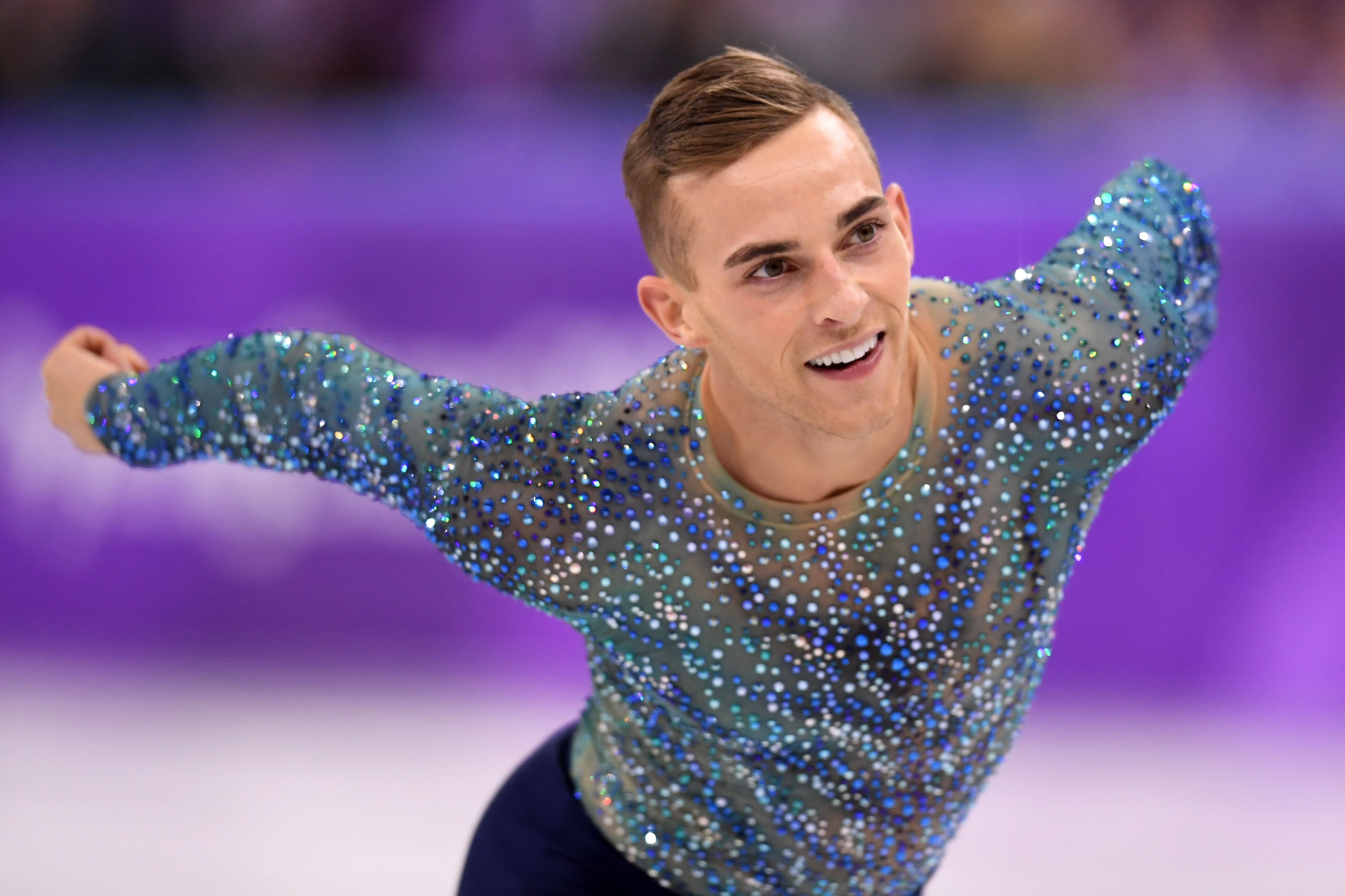 Adam Rippon of the United States competes during the Men's Single Free Program on day eight of the PyeongChang 2018 Winter Olympic Games  at Gangneung Ice Arena on February 17, 2018 in Gangneung, South Korea.