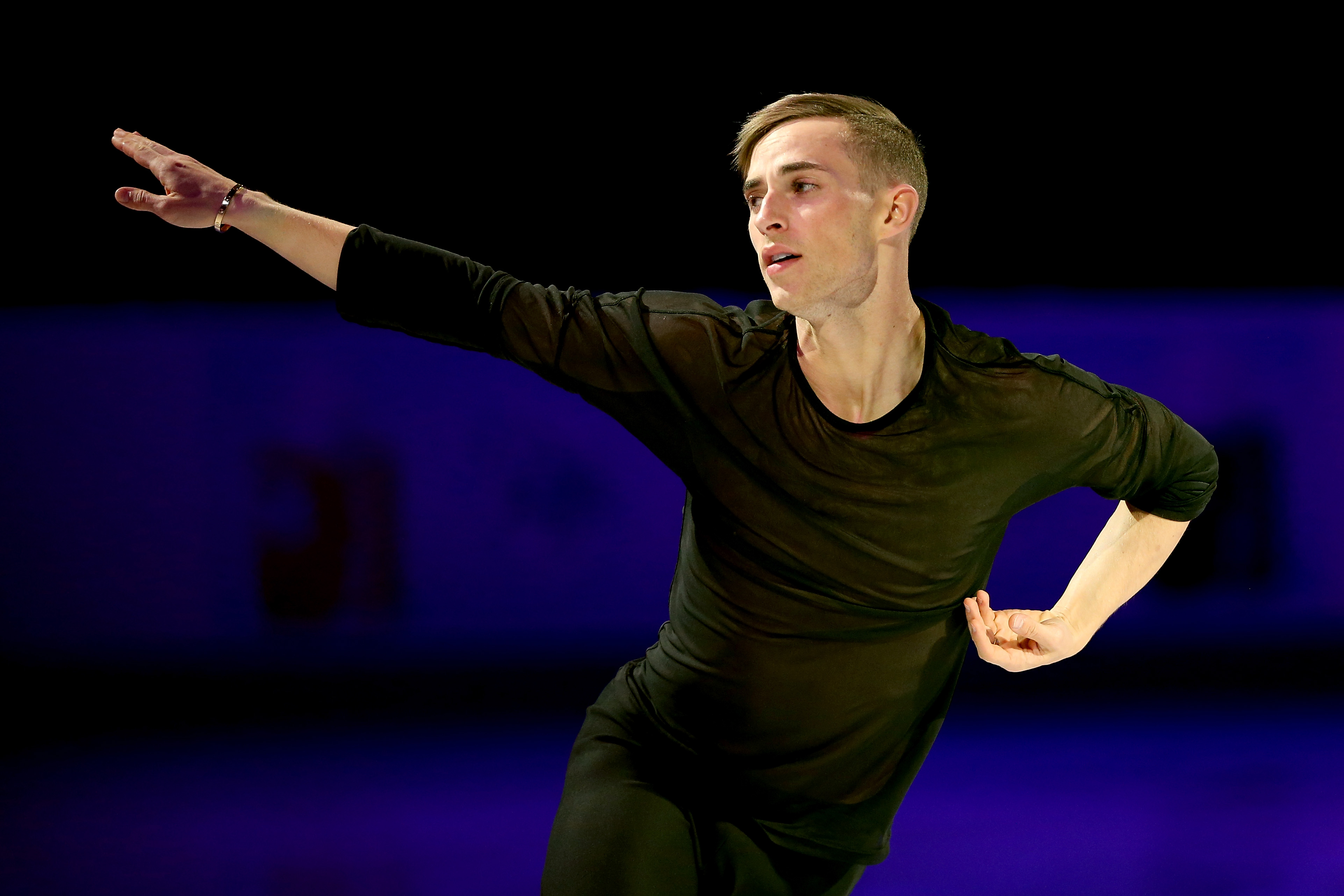 Adam Rippon skates in the Smucker's Skating Spectacular during the 2018 Prudential U.S. Figure Skating Championships at the SAP Center on January 7, 2018 in San Jose, California.