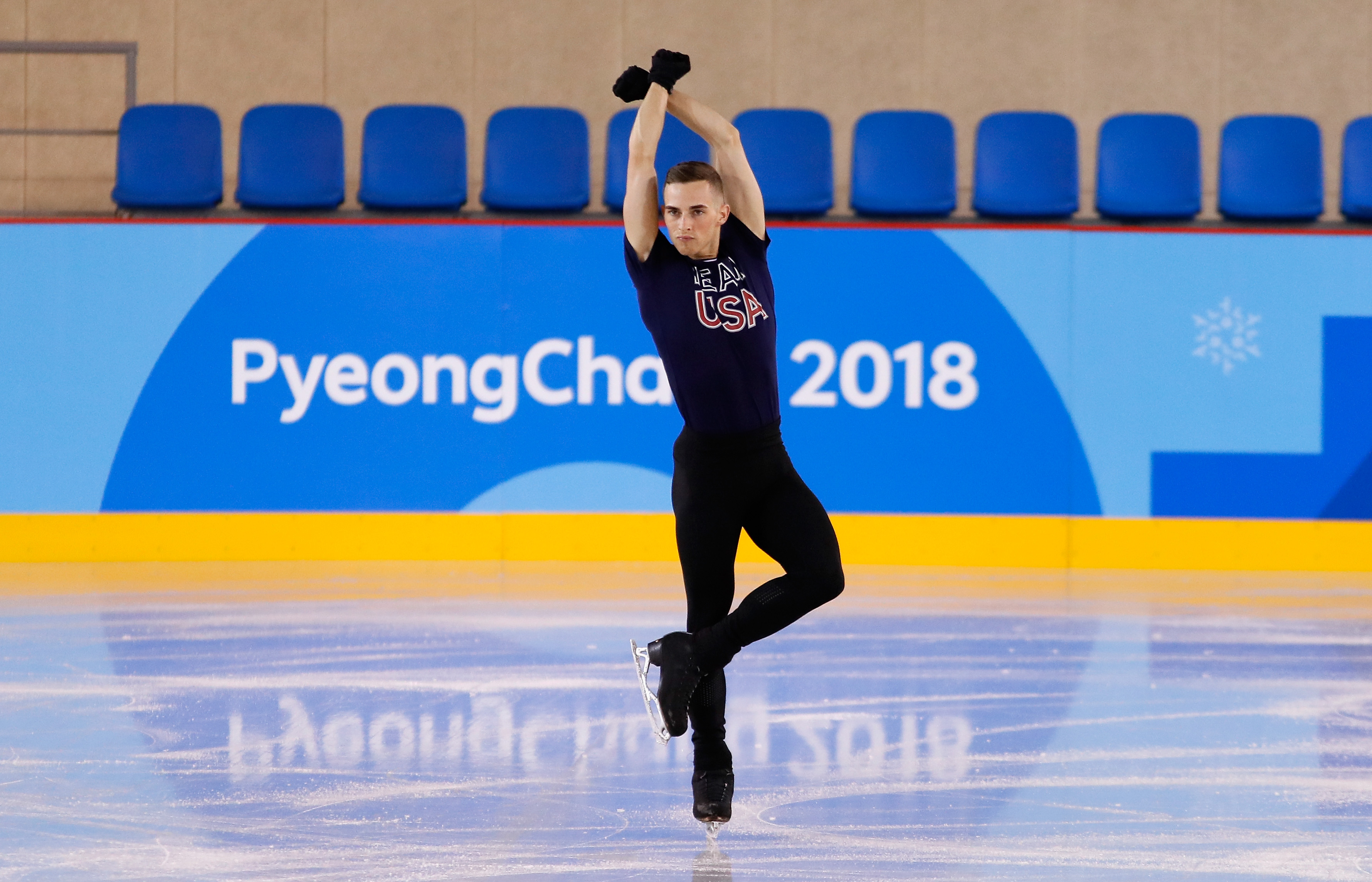 Adam Rippon of The United States trains during Figure Skating practice ahead of the PyeongChang 2018 Winter Olympic Games at Gangneung Ice Arena on February 7, 2018 in Pyeongchang-gun, South Korea.