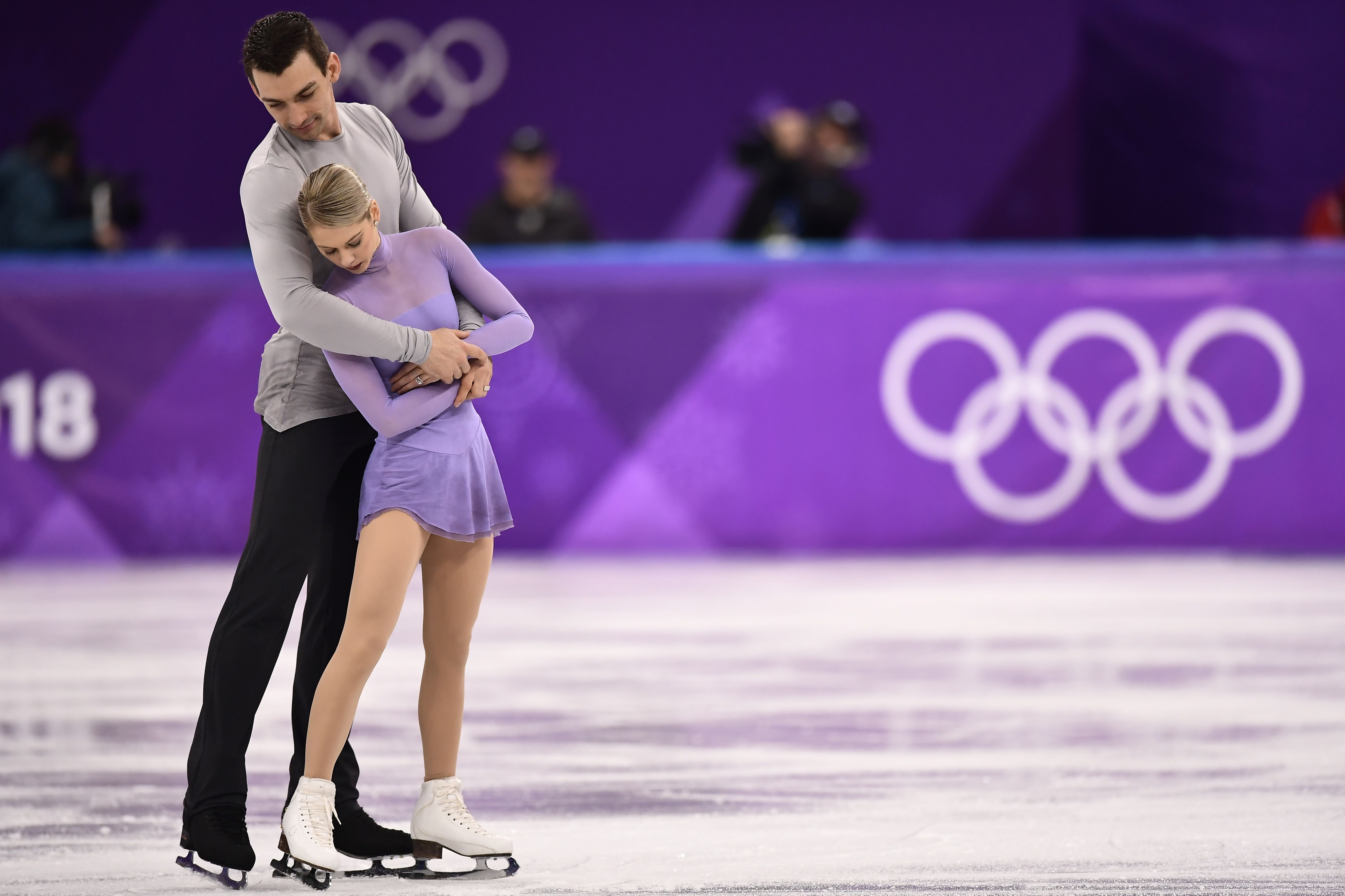 USA's Alexa Scimeca Knierim and USA's Chris Knierim compete in the pair free skating event during the PyeongChang 2018 Winter Olympic Games at the Gangneung Ice Arena in Gangneung on Feb. 15, 2018.