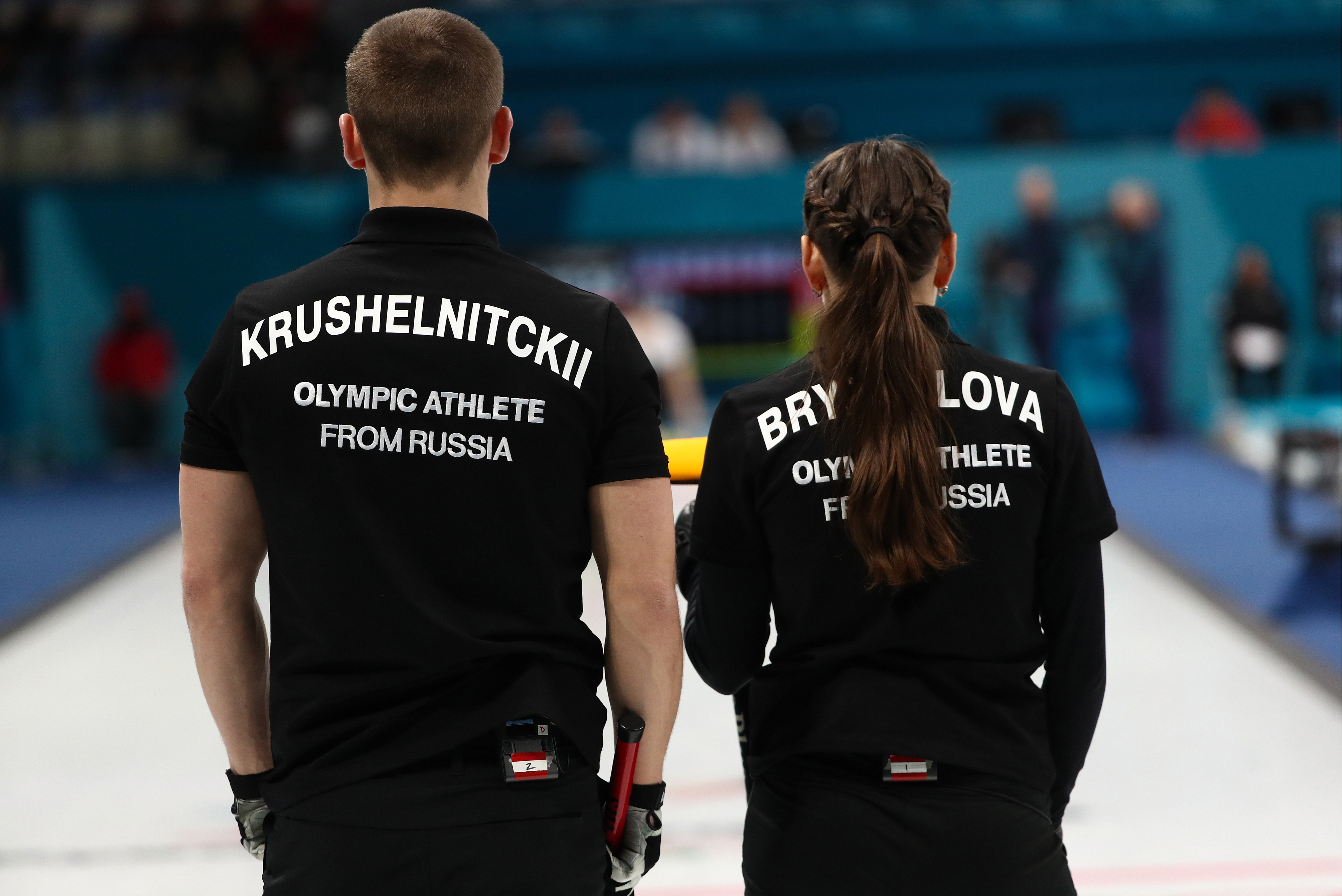 Olympic Athletes from Russia Anastasia Bryzgalova (R) and Alexander Krushelnitsky seen during Session 3 of the Mixed Doubles Round Robin curling competition against Finland at the 2018 Winter Olympic Games at Gangneung Curling Centre.