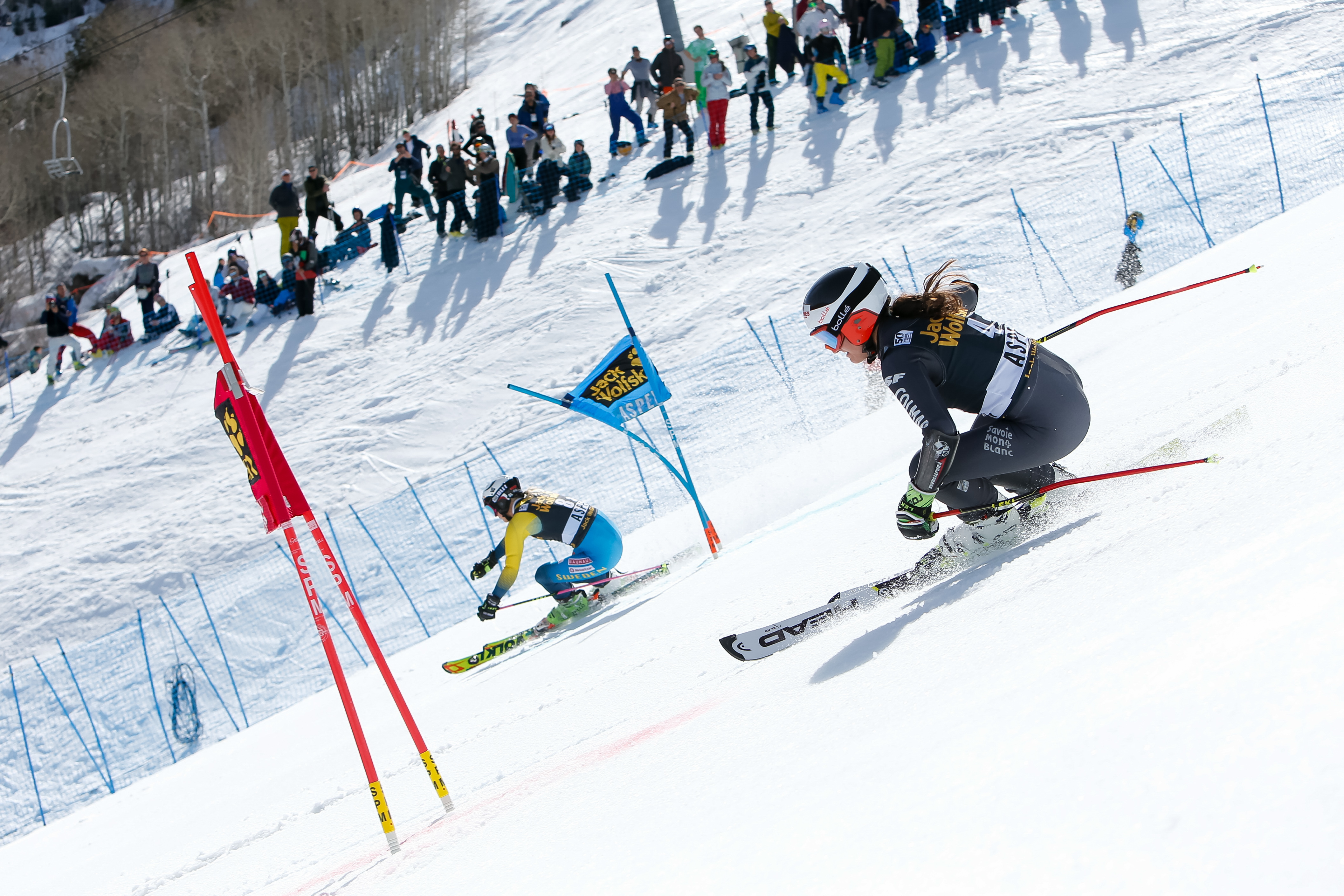 Emelie Wikstroem of Sweden, Coralie Frasse Sombet of France compete during the Audi FIS Alpine Ski World Cup Finals Nation Team Event on March 17, 2017 in Aspen, Colorado. Alexis Boichard/Agence Zoom—Getty Images
