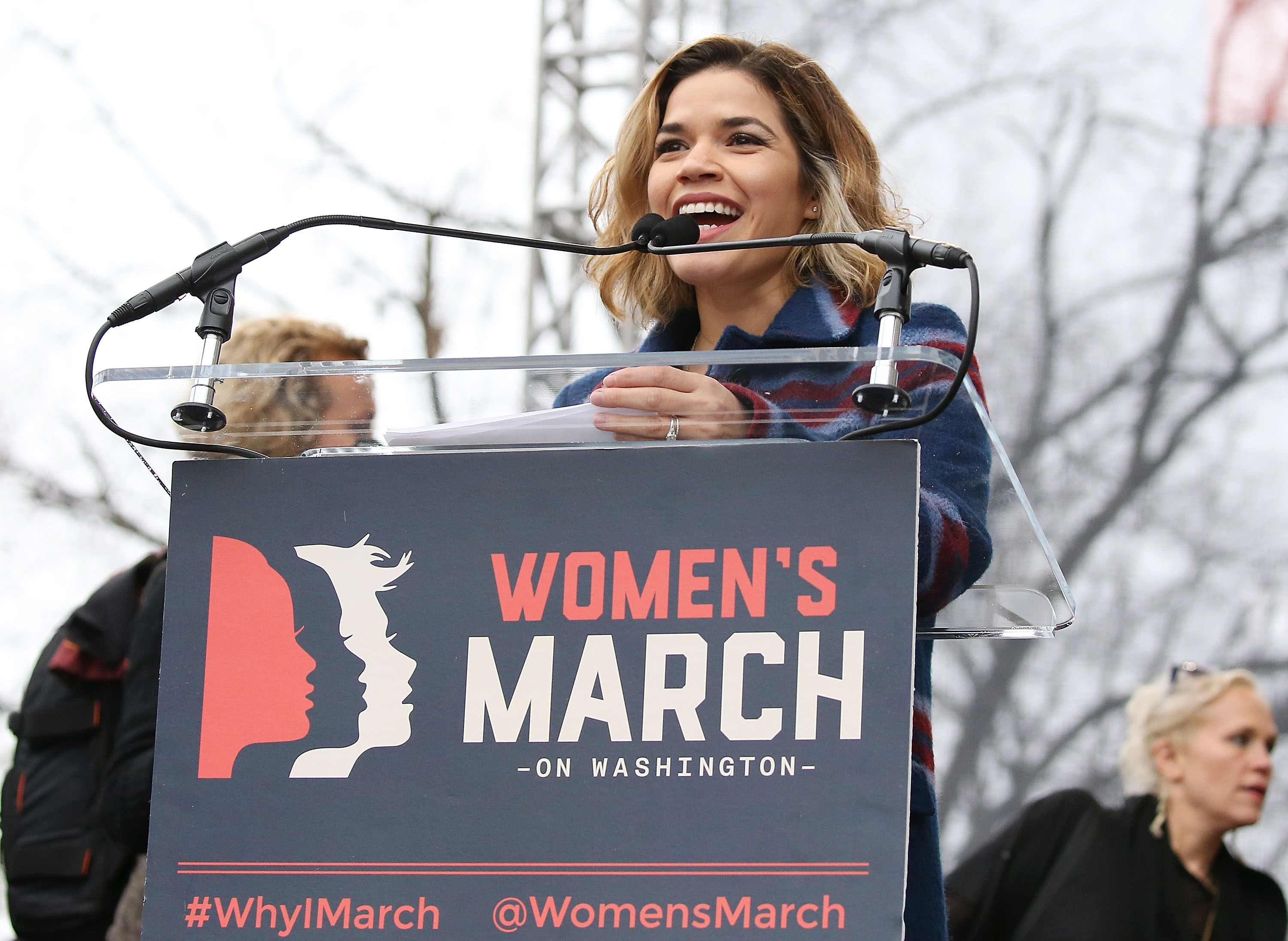 America Ferrara speaks onstage at the Women's March on Washington on January 21, 2017 in Washington, DC.