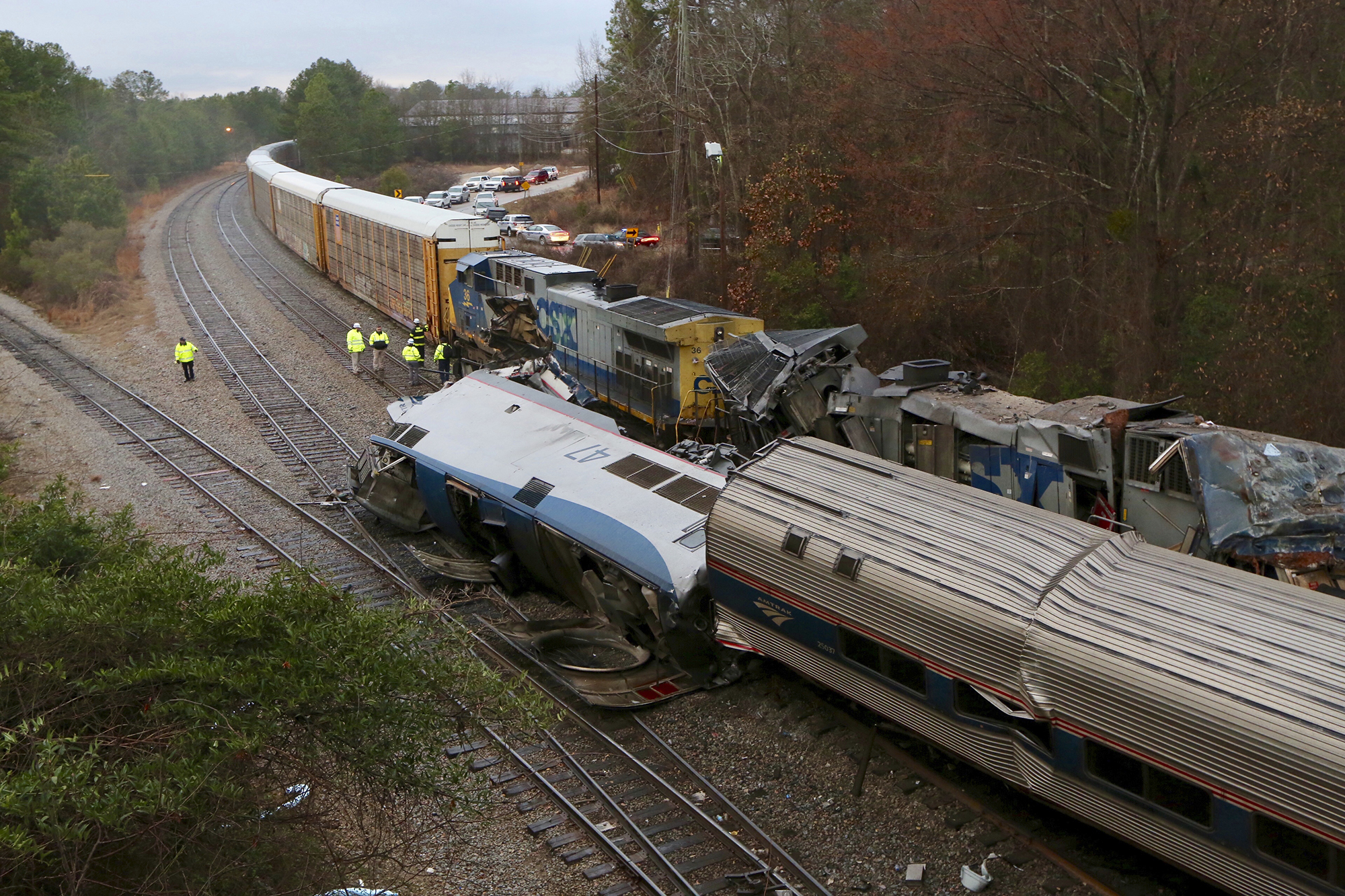 An Amtrak train crash in Cayce, South Carolina, on Feb. 4, 2018 killed at least two people and left dozens injured
