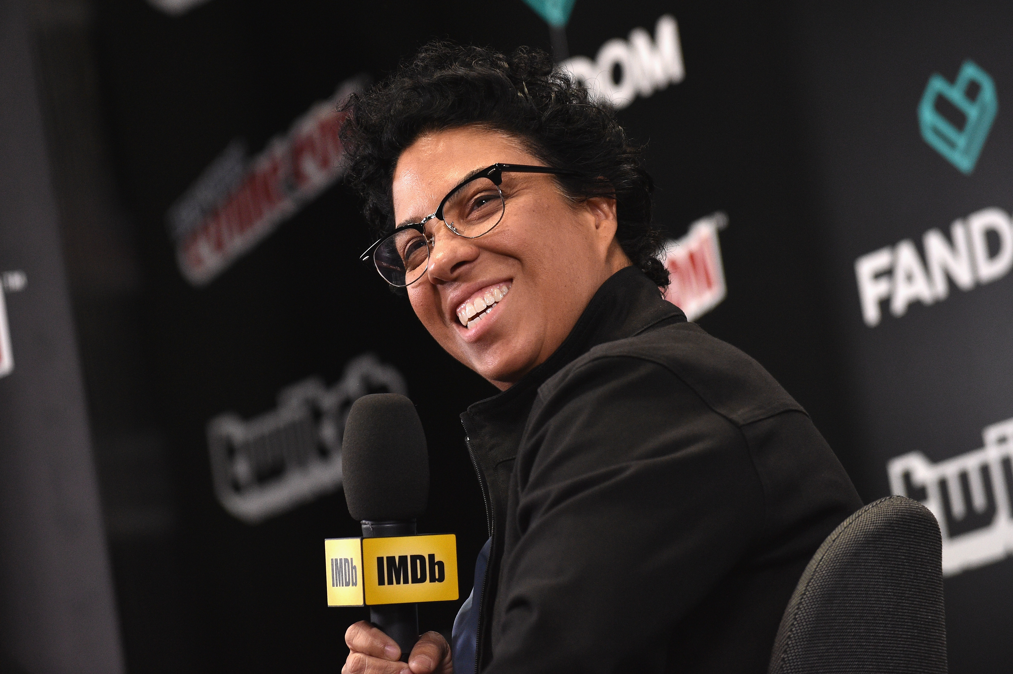 Angela Robinson, writer-director of Professor Marston and the Wonder Woman speaks onstage during IMDb LIVE at NY Comic-Con at Javits Center on October 7, 2017 in New York City.