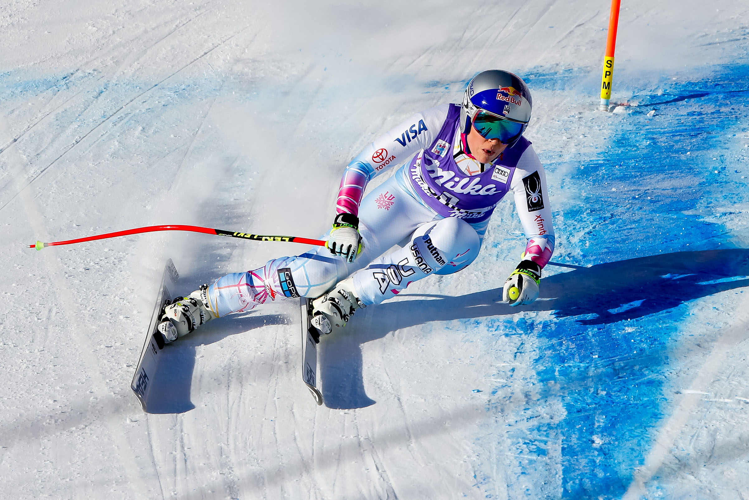 Lindsey Vonn of USA competes during the Audi FIS Alpine Ski World Cup Women's Downhill in Cortina d'Ampezzo, Italy, on Jan. 20, 2018.