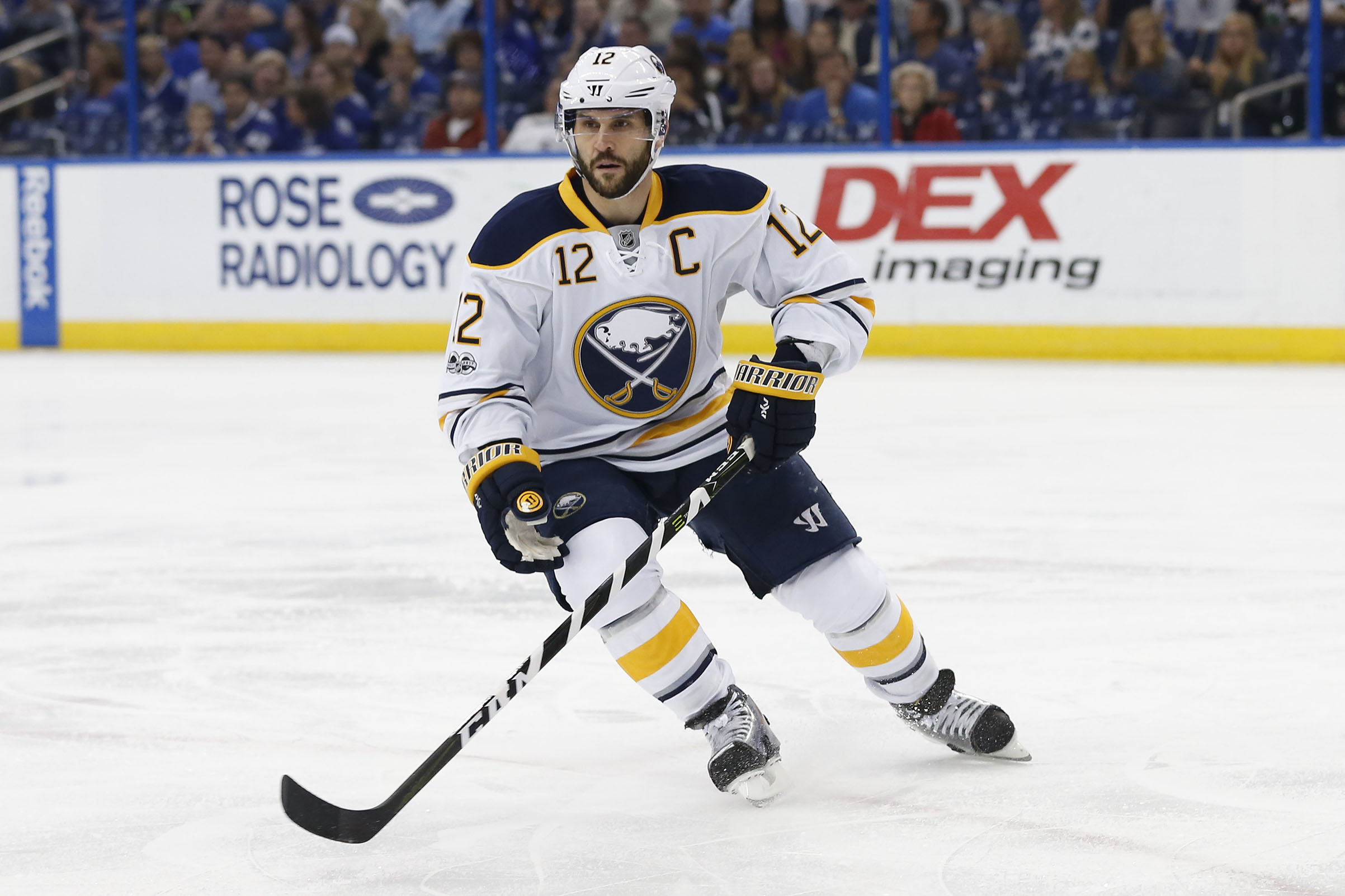 Buffalo Sabres right wing Brian Gionta skates in the 1st period of the NHL game between the Buffalo Sabres and Tampa Bay Lightning on April 09, 2017.
