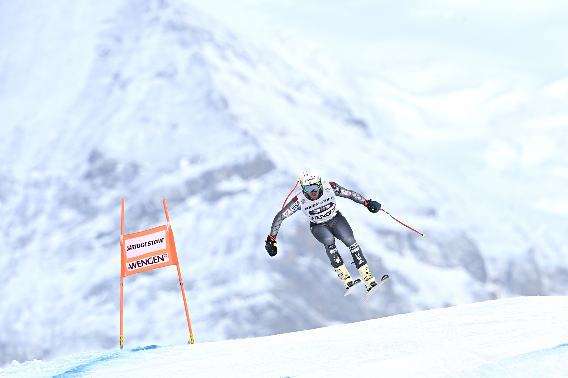 Ted Ligety of USA in action during the Audi FIS Alpine Ski World Cup Men's Combined in Wengen, Switzerland, on Jan. 12, 2018.