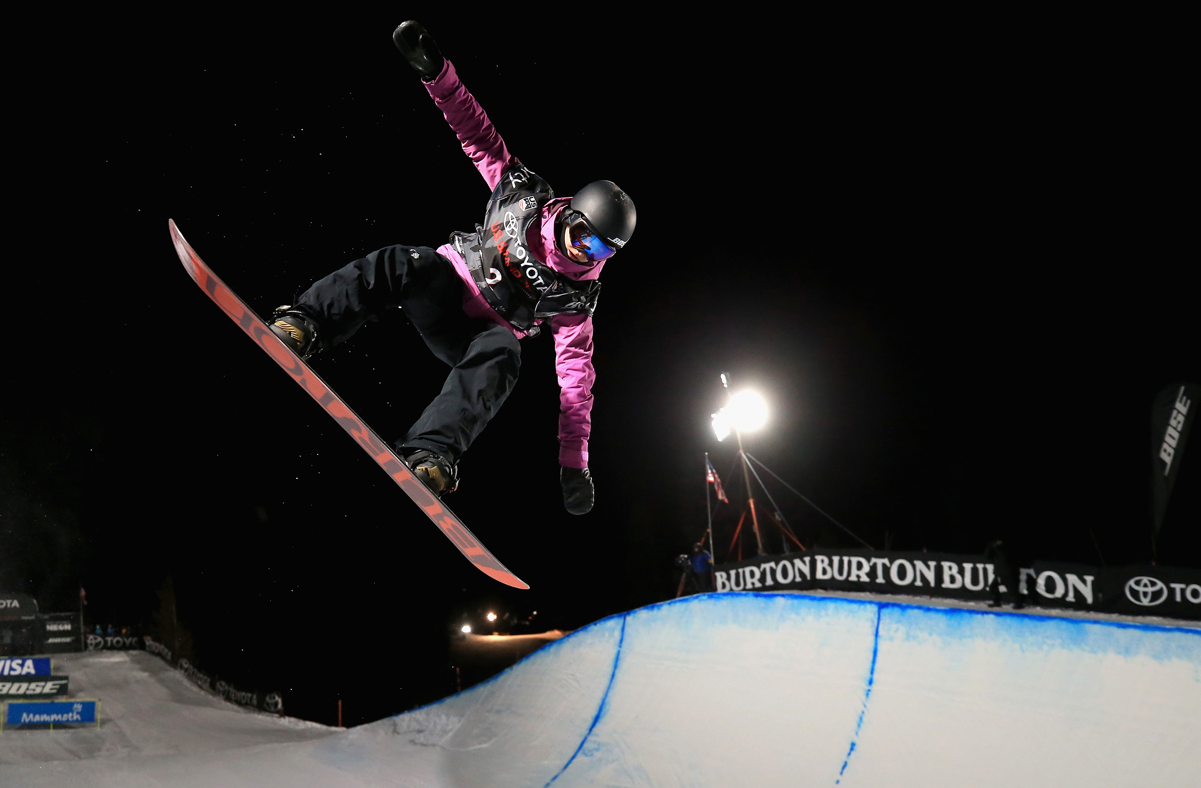 Kelly Clark competes in the final round of the Ladies' Snowboard Halfpipe during the Toyota U.S. Grand Prix in Mammoth, Calif., on Jan. 20, 2018.