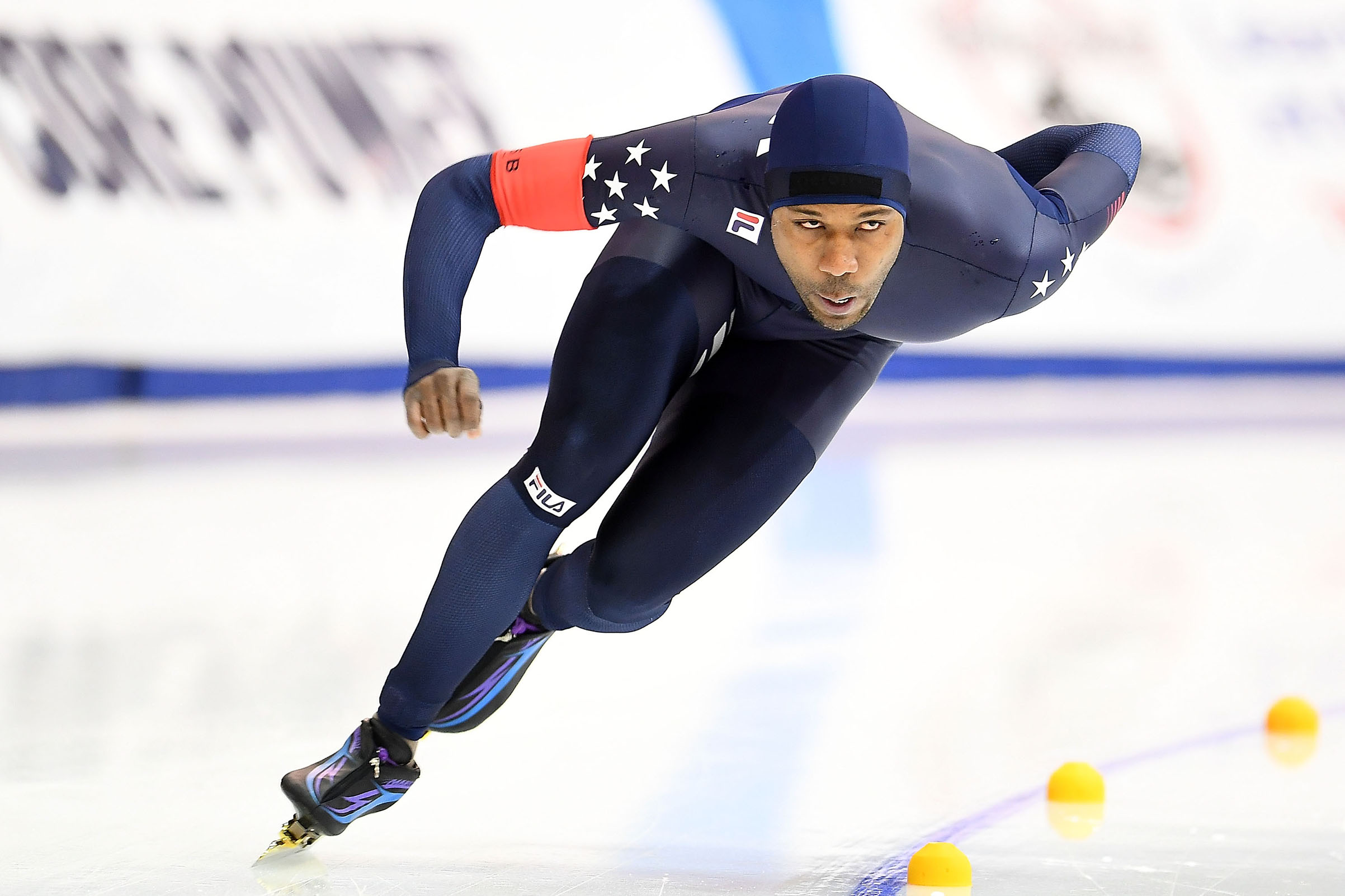 Shani Davis competes in the Men's 1500 meter event during the Long Track Speed Skating Olympic Trials at the Pettit National Ice Center in Milwaukee, on Jan. 6, 2018.