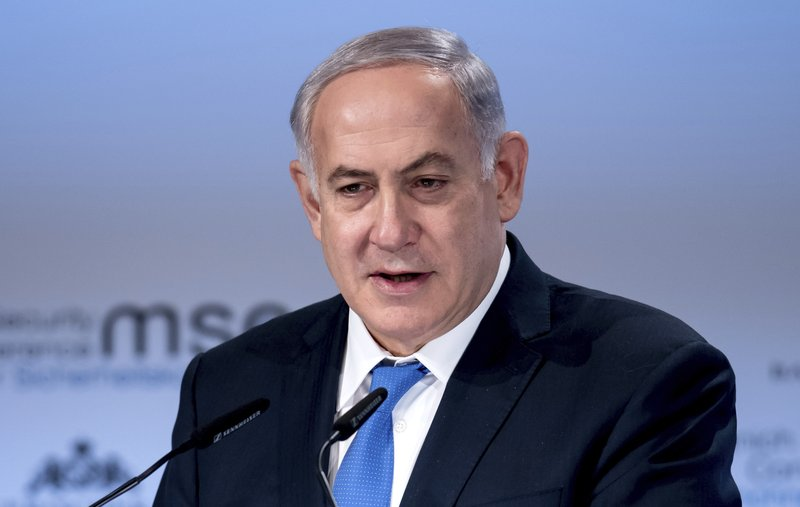 Israel's Prime Minister, Benjamin Netanyahu, delivers a speech during the International Security Conference in Munich, Germany, Sunday, Feb. 18, 2018.