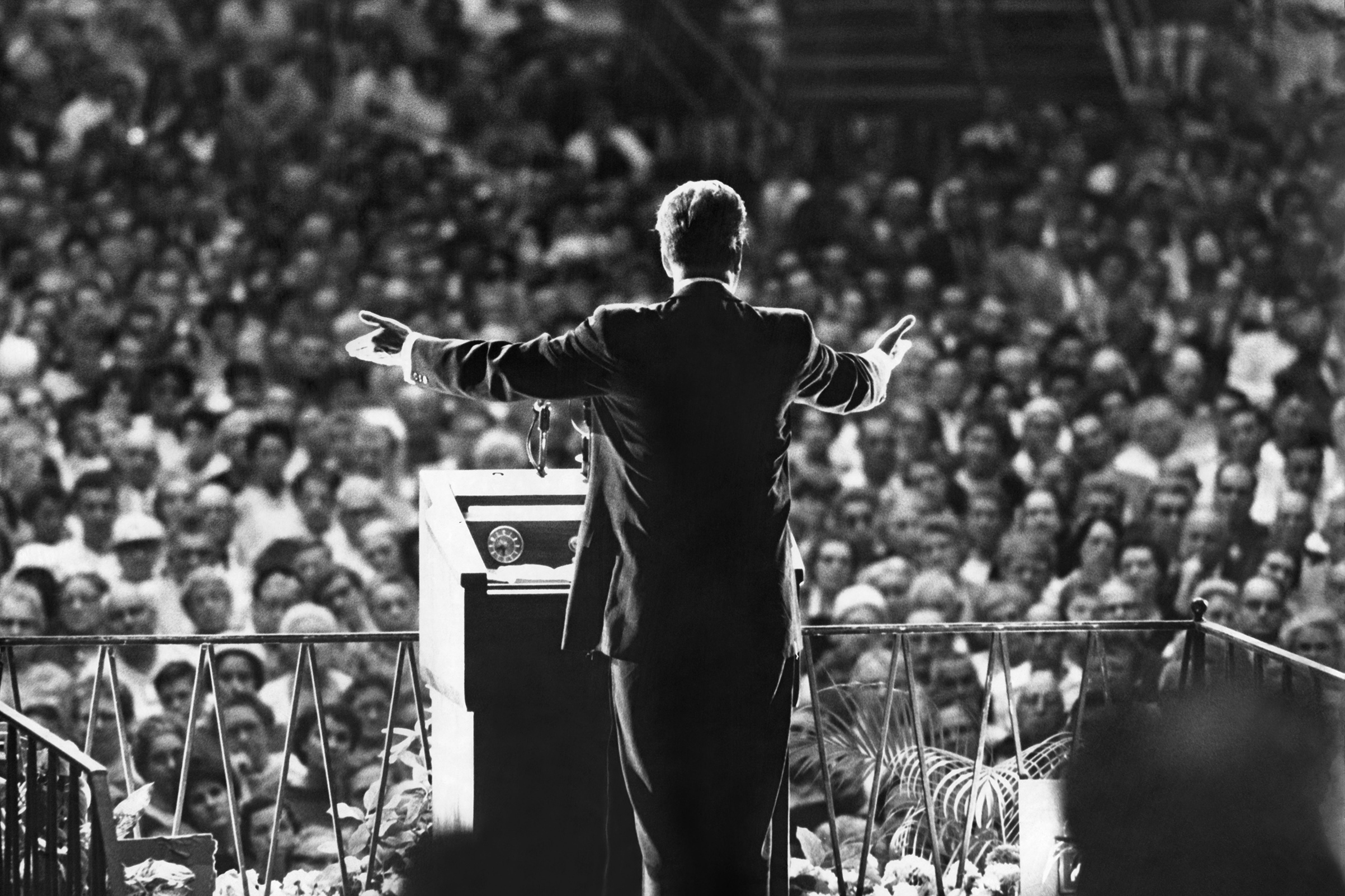 Billy Graham preaches at the Miami Beach Exhibition Hall in March 1961