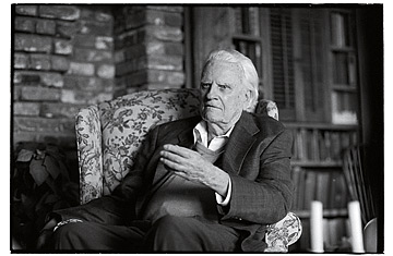 Billy Graham answering a question at his home during the TIME magazine interview.