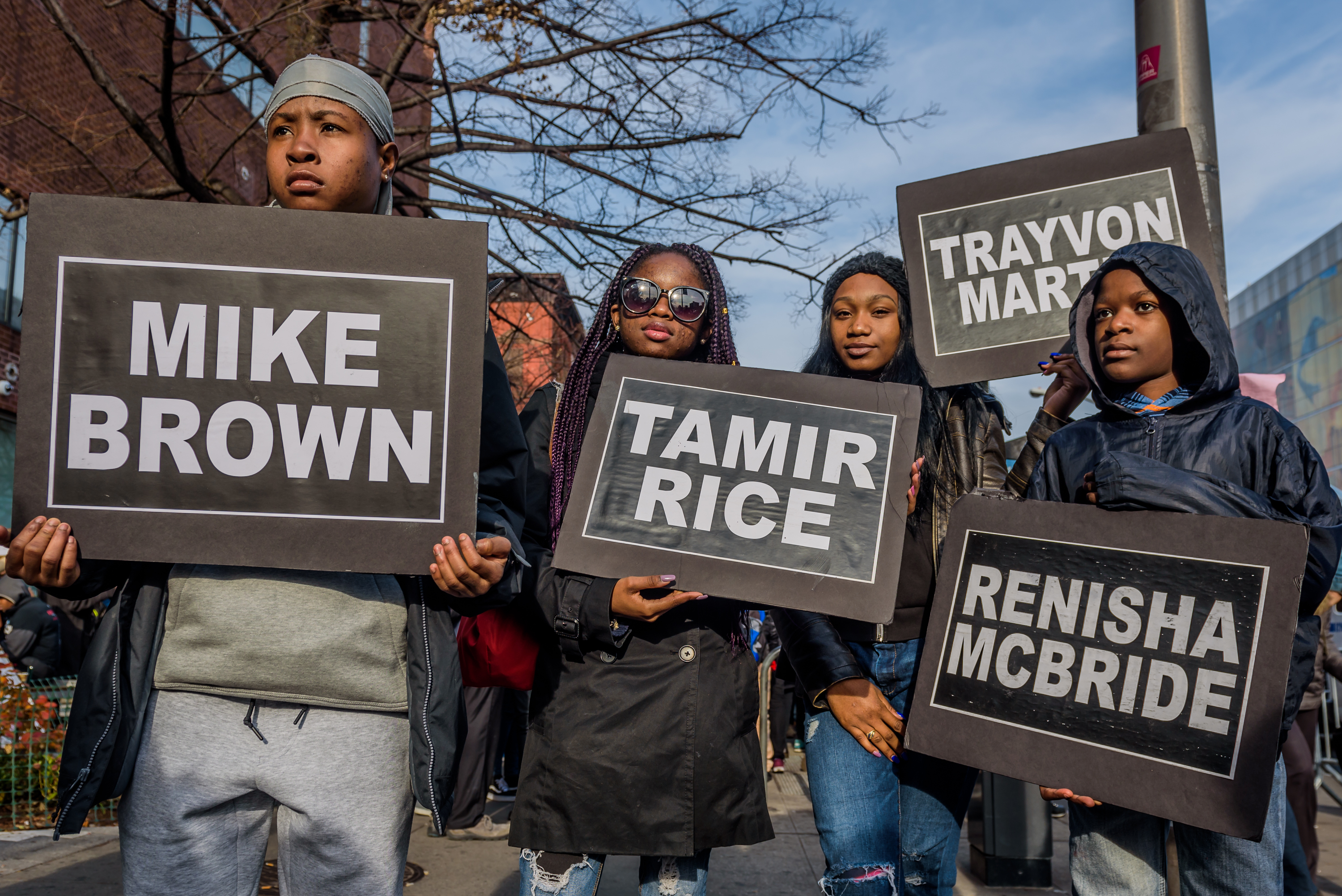 Students from South Bronx Community Charter High School with help from community leaders gathered at the Schomburg Center for Research in Black Culture in Harlem and led the second annual Future of the City March against police brutality on December 2, 2017; marching with students from other New York City schools against police brutality and the unjust treatment of people of color.