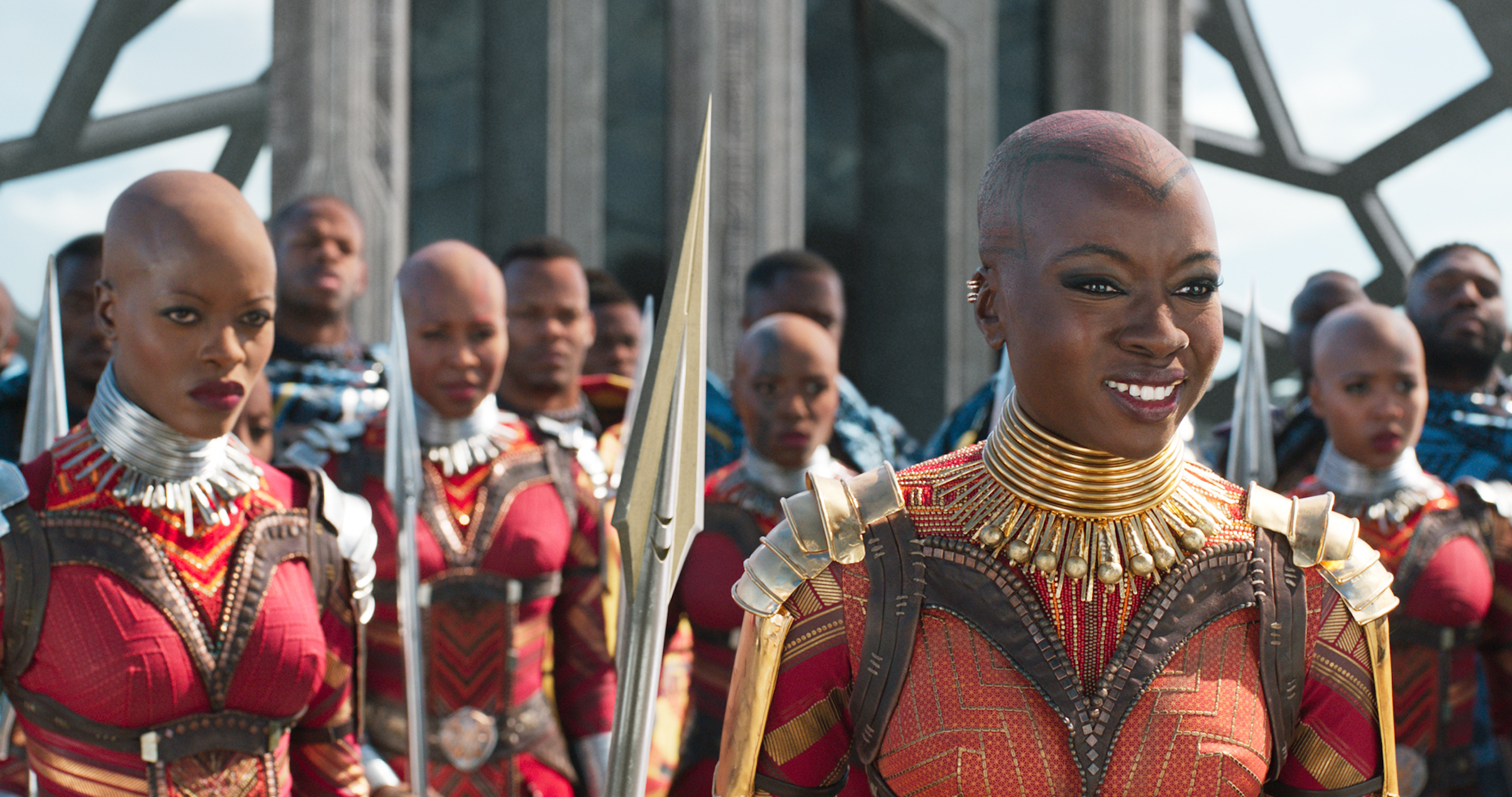 Marvel Studios' BLACK PANTHER. L to R: Ayo (Florence Kasumba) and Okoye (Danai Gurira).