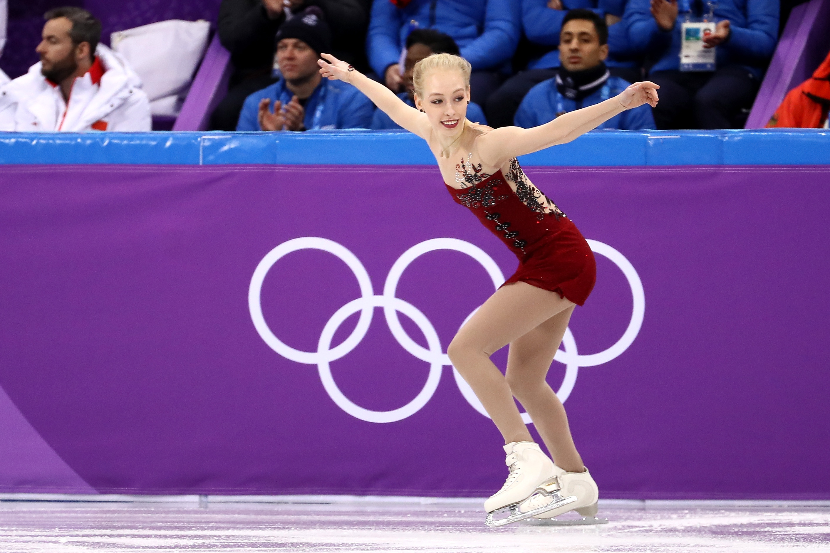 Bradie Tennell of the United States competes in the Figure Skating Team Event – Ladies' Short Program on day two of the PyeongChang 2018 Winter Olympic Games at Gangneung Ice Arena on February 11, 2018 in Gangneung, South Korea.